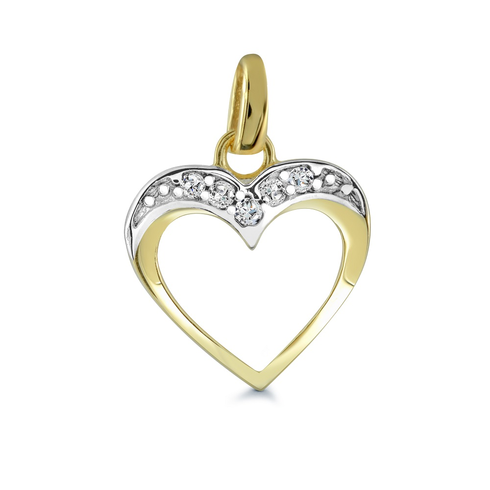 Heart pendant with cubic zirconia - in 10K yellow gold