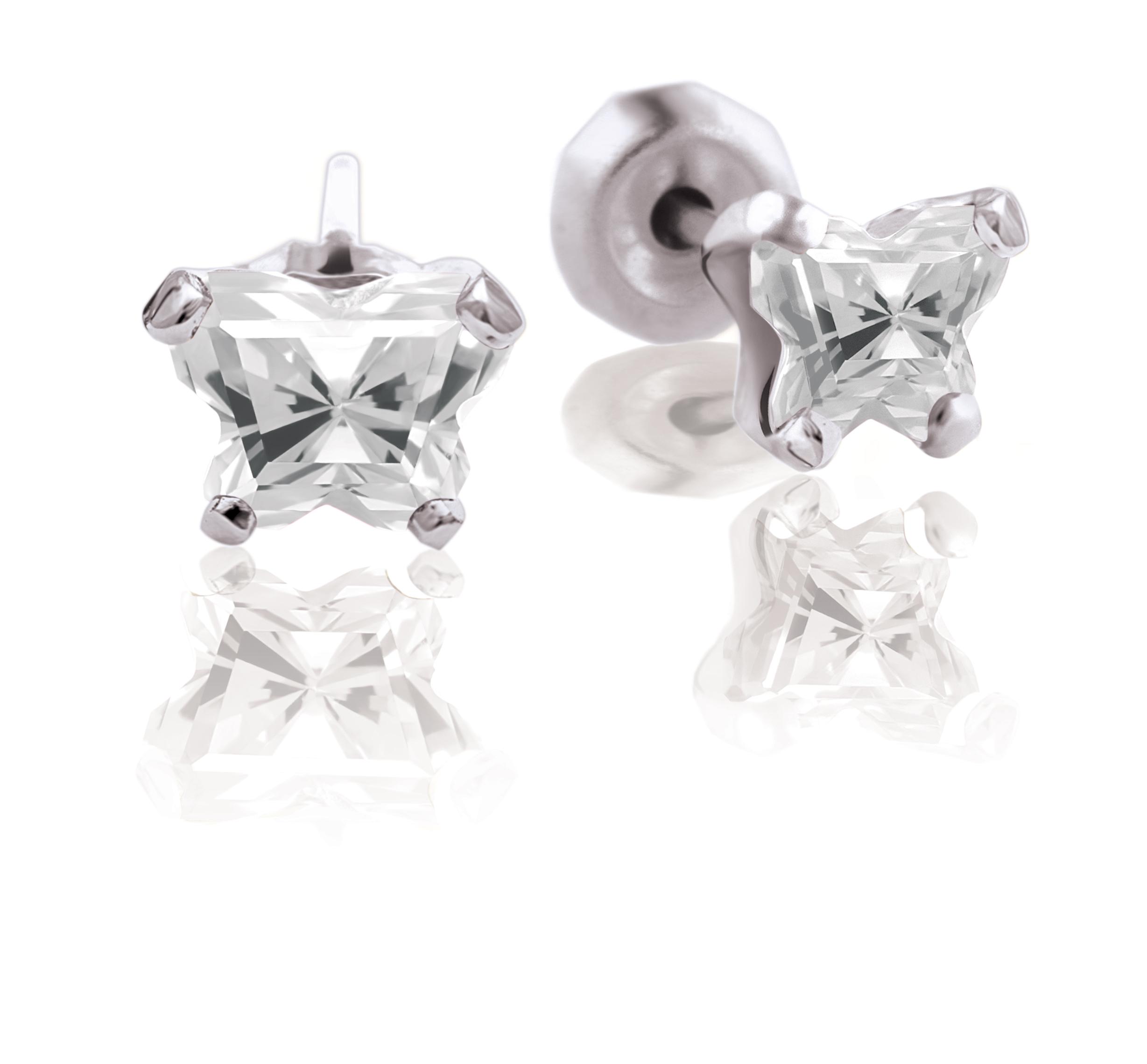 Boucles d'oreilles BFLY à tiges fixes pour bébé - Argent sterling & zircons cubiques (mois d'avril)