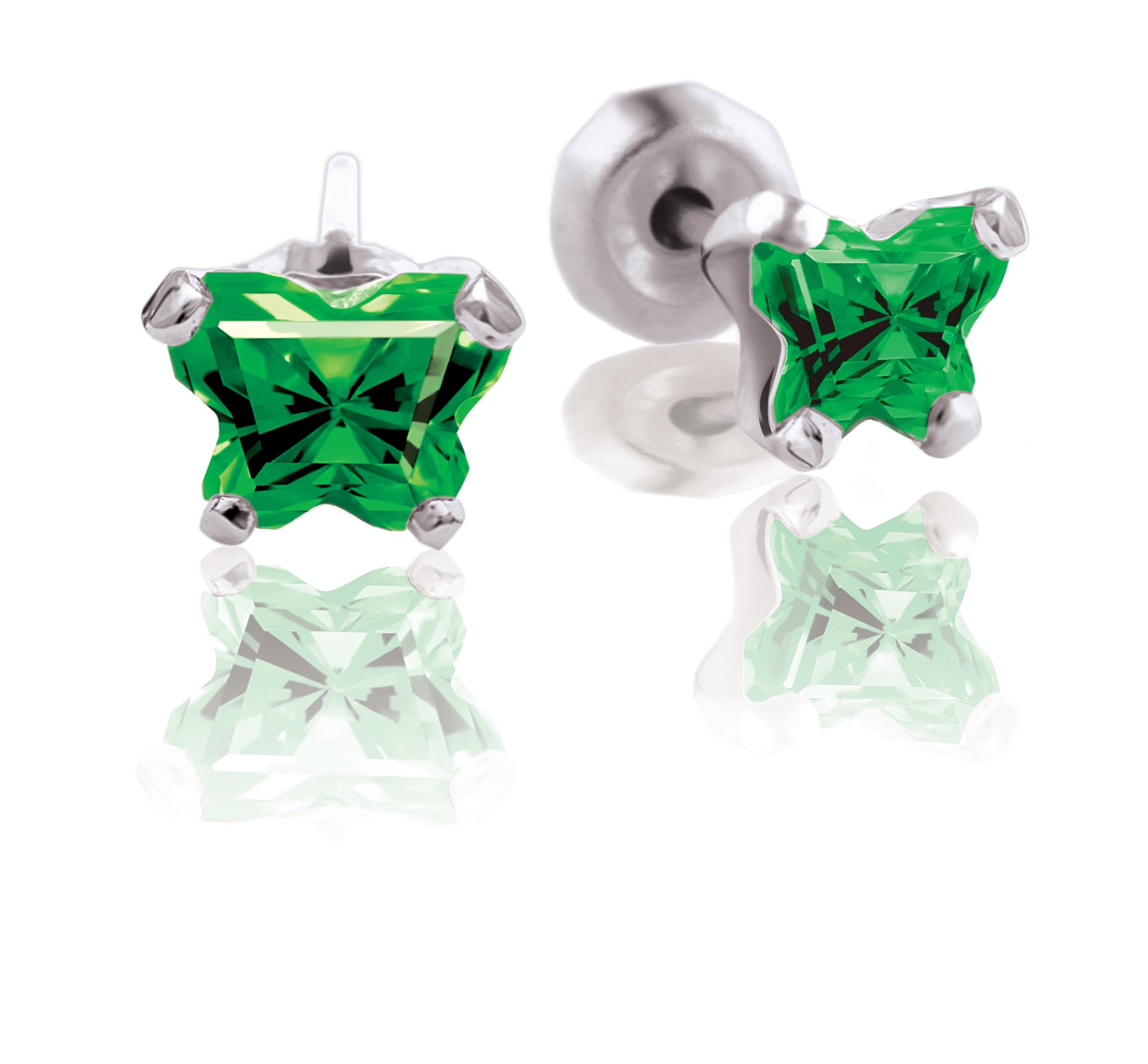 Boucles d'oreilles BFLY à tiges fixes pour bébé - Argent sterling & zircons cubiques verts (mois de mai)