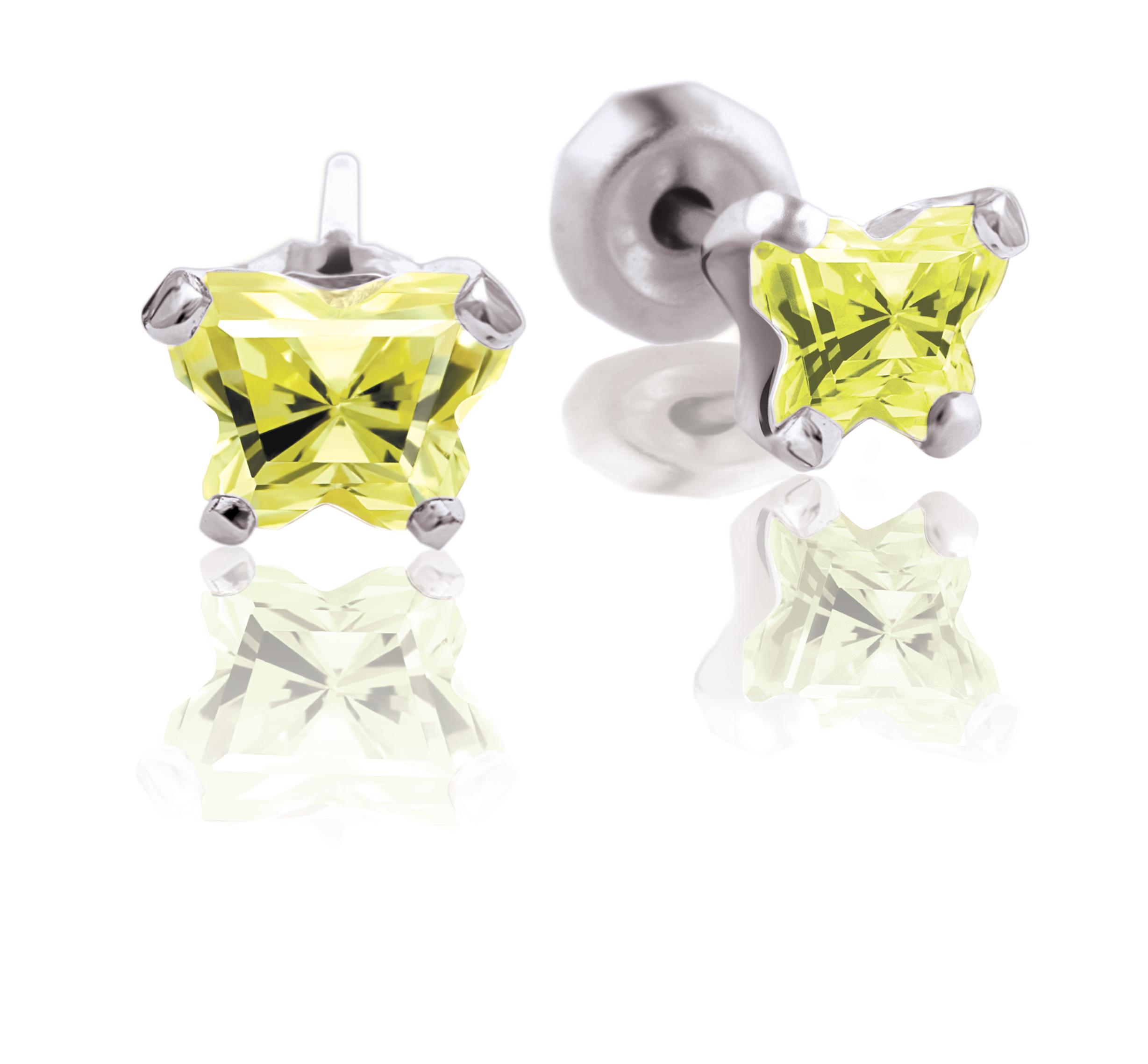 Boucles d'oreilles BFLY à tiges fixes pour bébé - Argent sterling  & zircons cubiques vert lime (mois d'août)