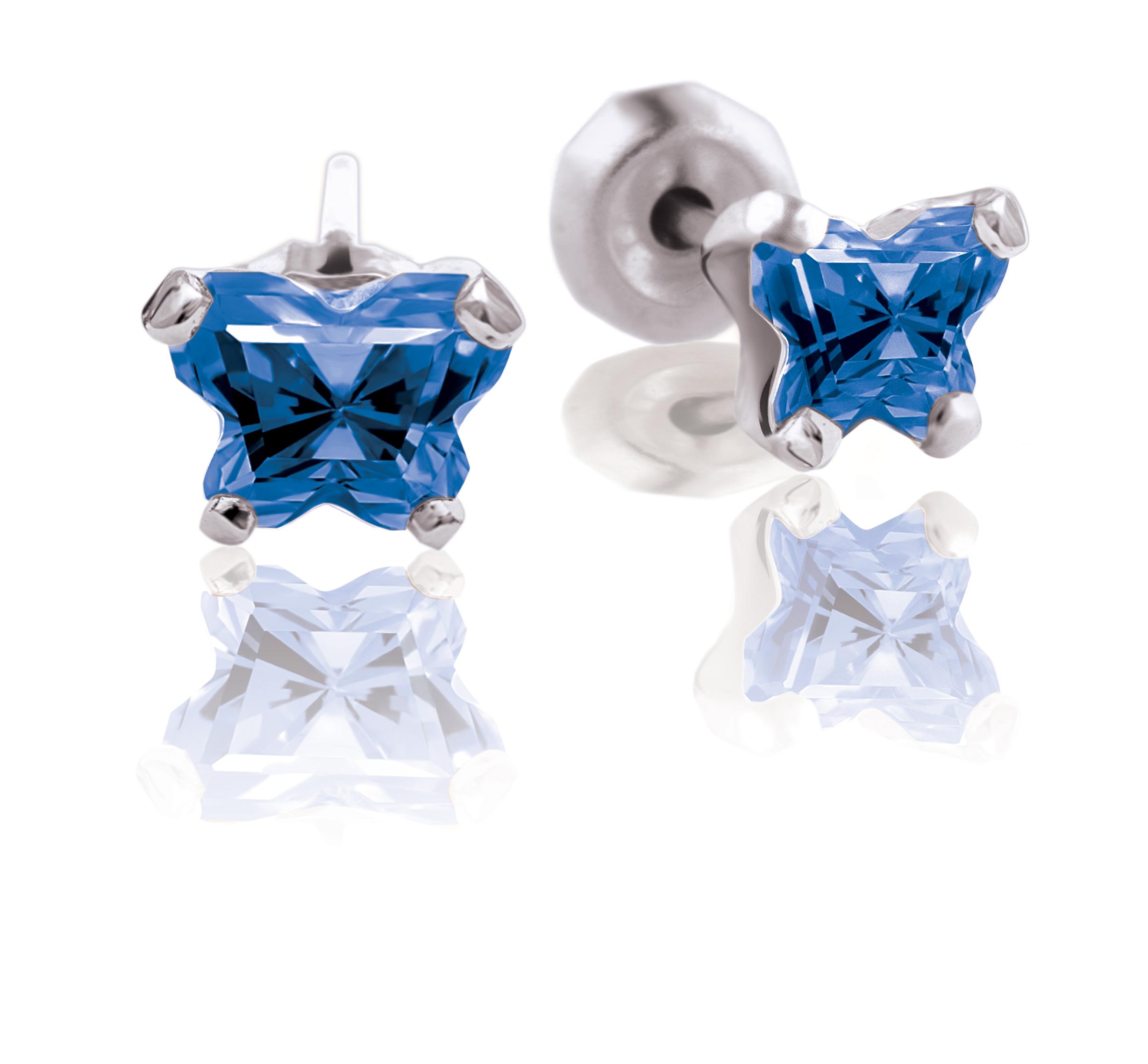Boucles d'oreilles BFLY à tiges fixes  pour bébé - Argent sterling & zircons cubiques bleu marin (mois de septembre)