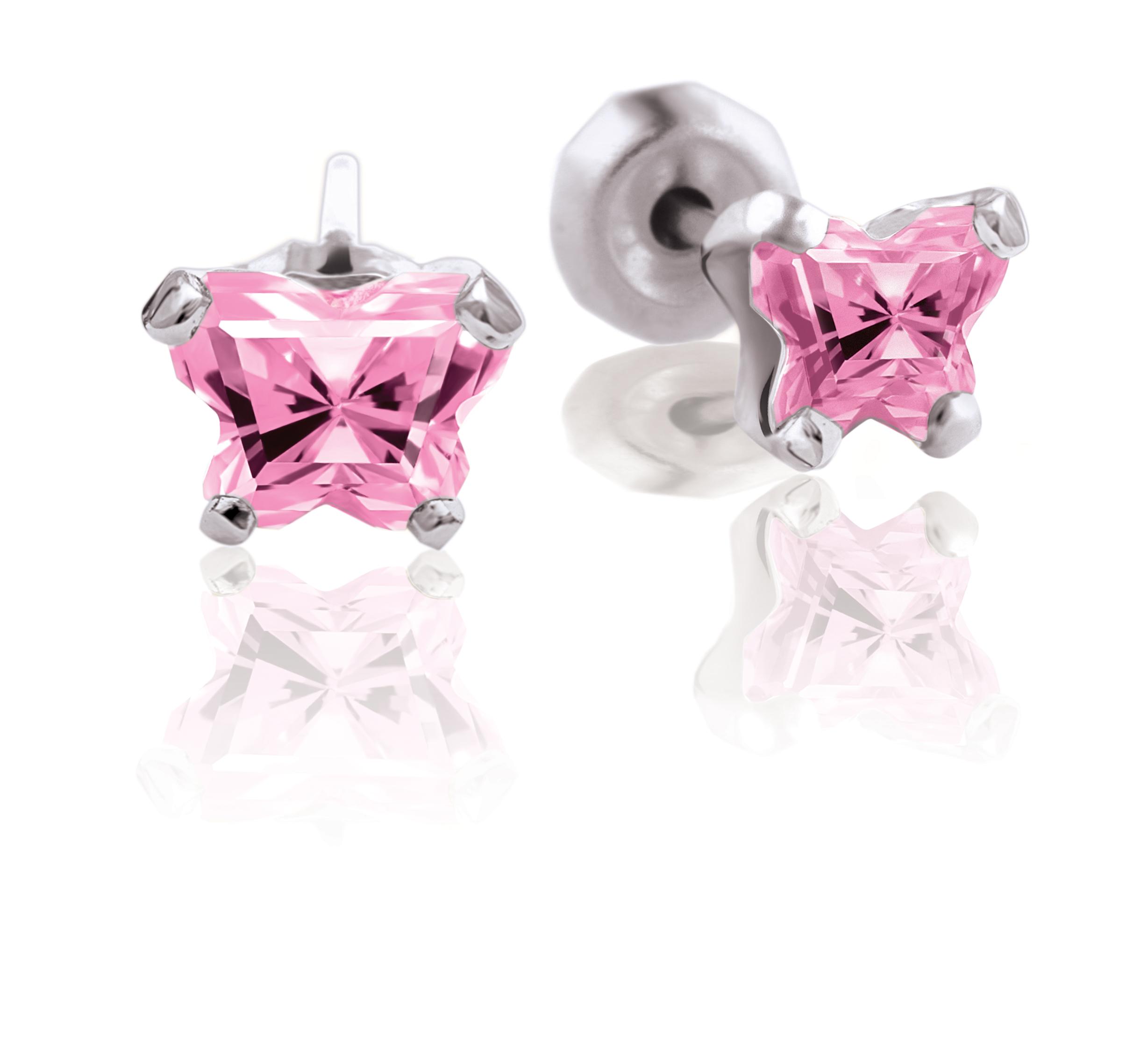 Boucles d'oreilles BFLY à tiges fixes pour bébé serties de zircons cubiques roses (mois d'octobre) - Argent sterling