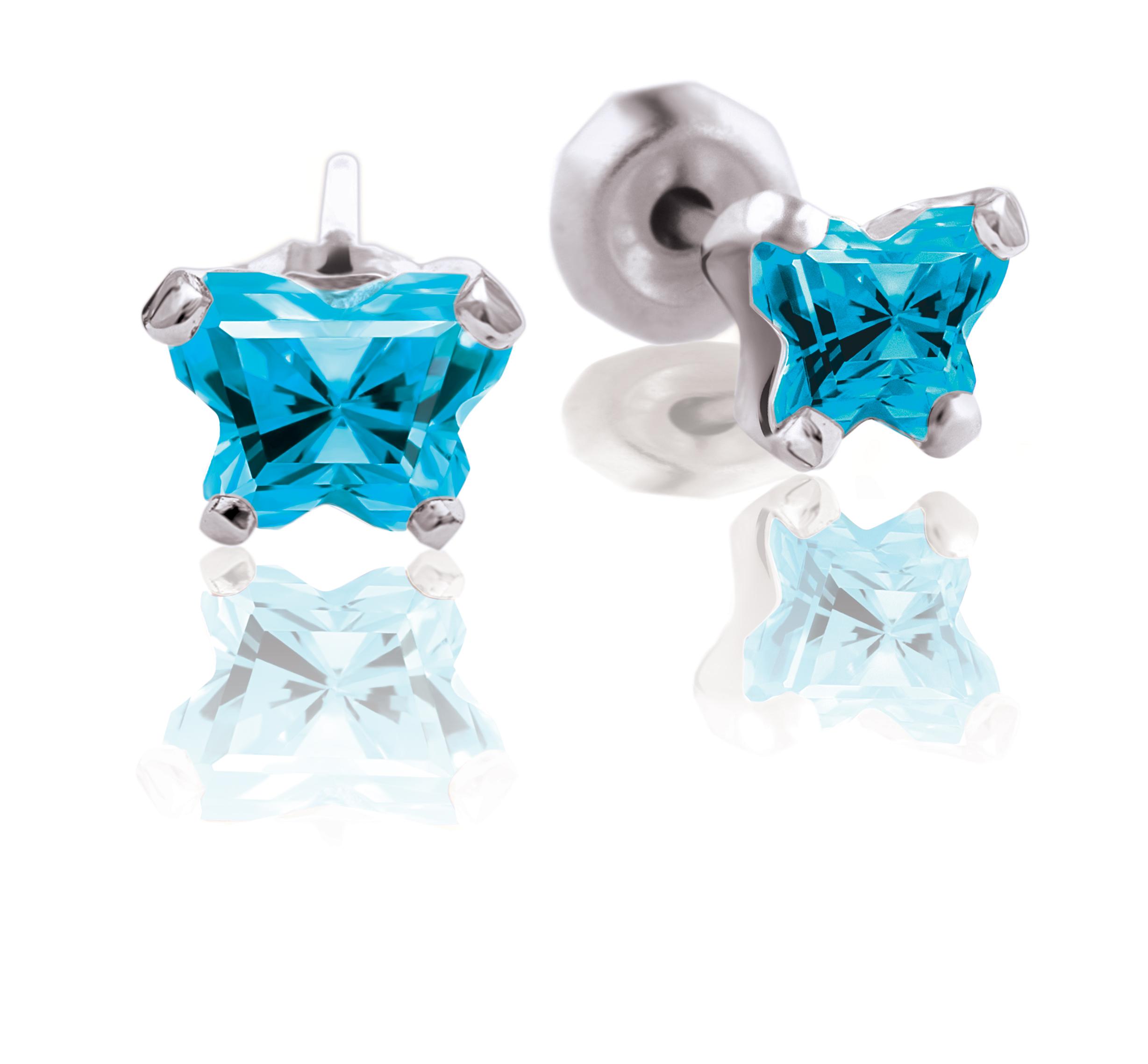 Boucles d'oreilles BFLY à tiges fixes pour bébé serties de zircons cubiques bleus (mois de décembre) -  Argent sterling