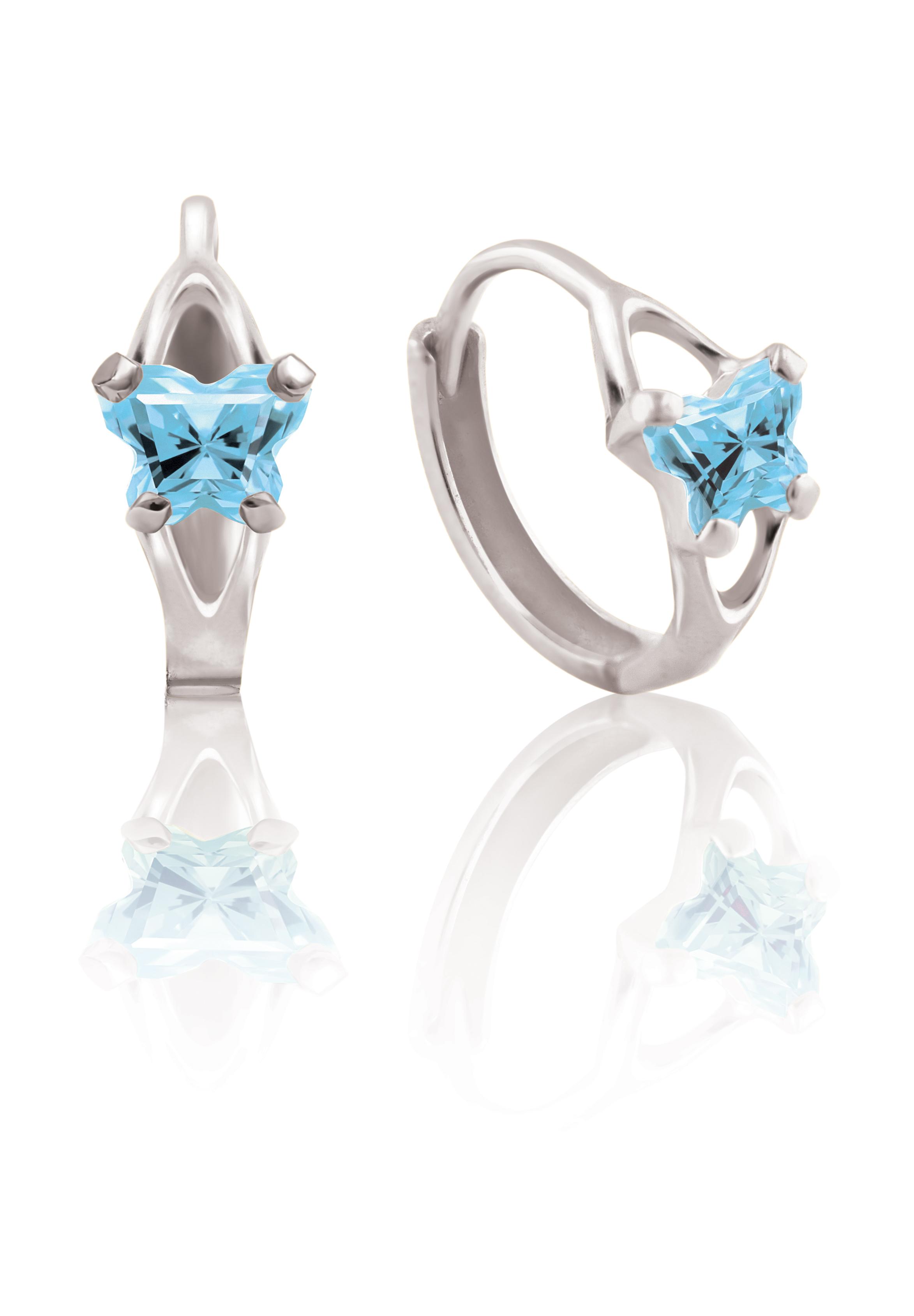 Boucles d'oreilles BFLY de genre Huggies pour bambins en argent sterling serties de zircons cubiques bleu ciel (mois de mars)