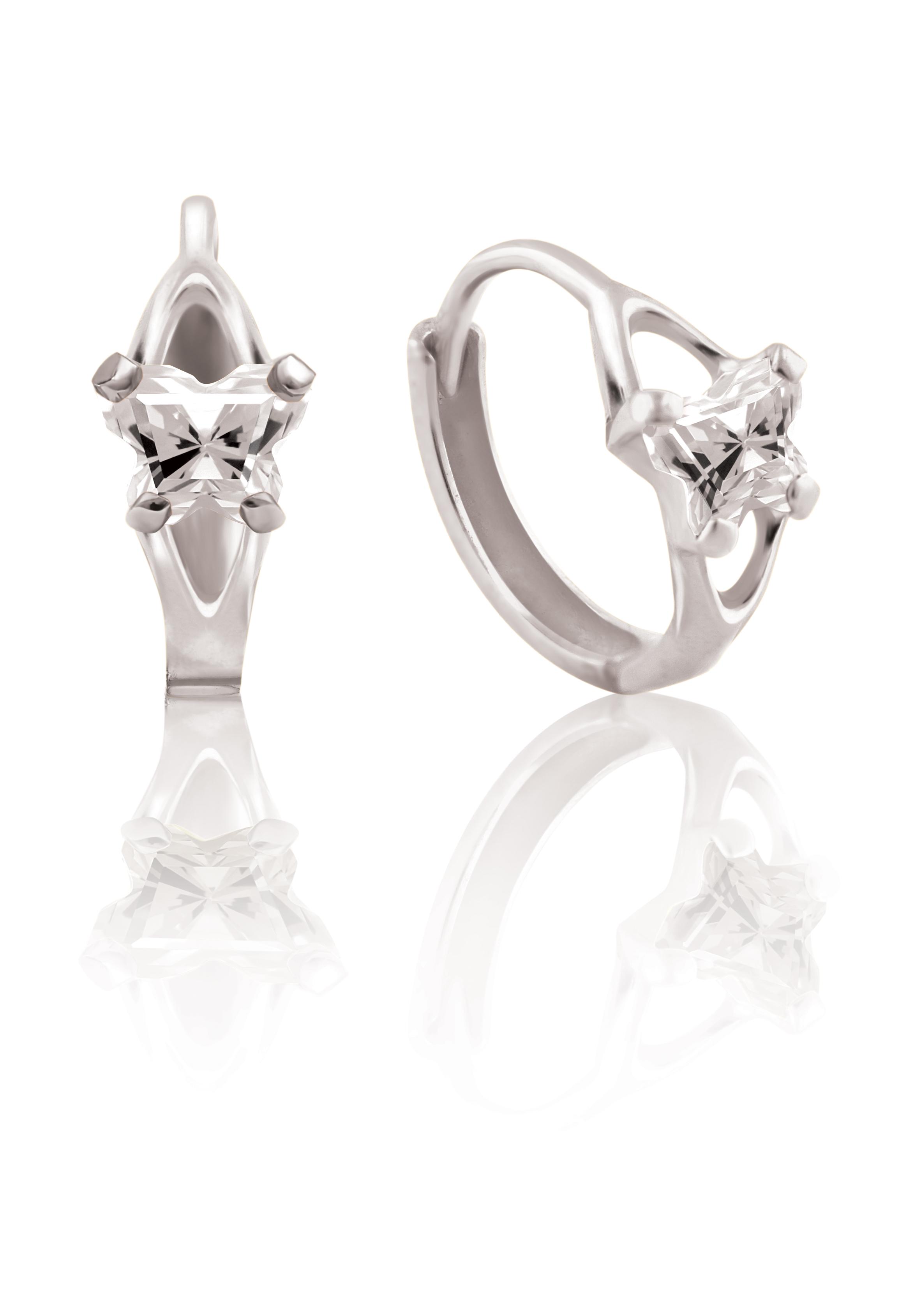 Boucles d'oreilles BFLY de genre Huggies pour bambins en argent sterling serties de zircons cubiques (mois d'avril)