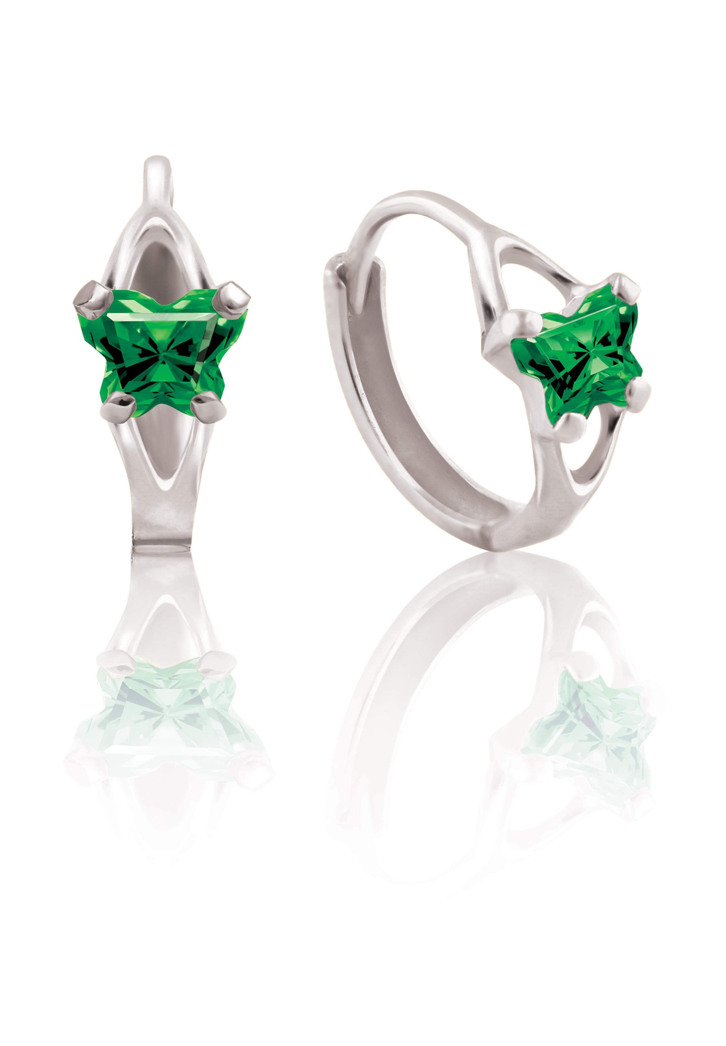 Boucles d'oreilles BFLY de genre Huggies pour bambins en argent sterling serties de zircons cubiques verts  (mois de mai)