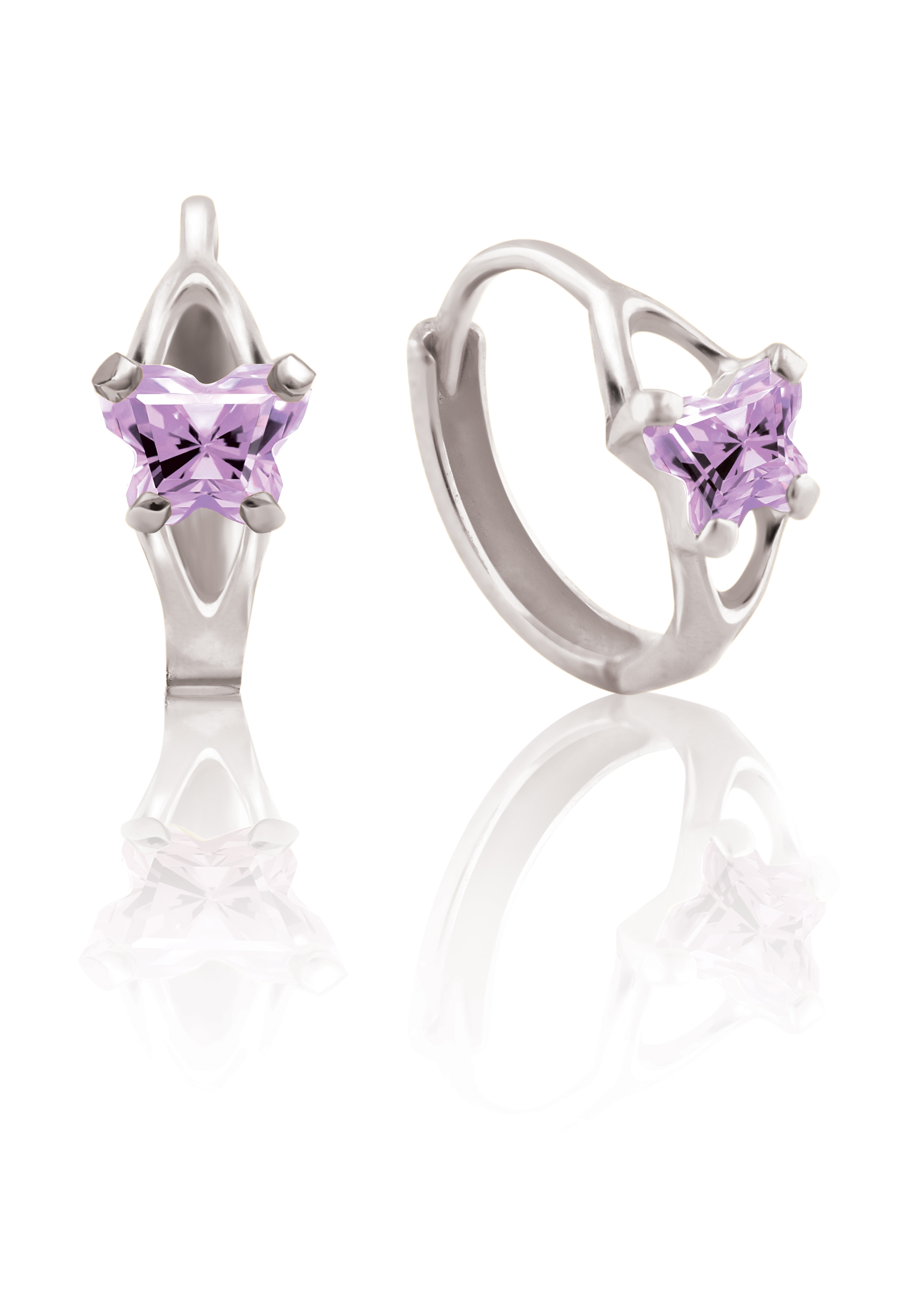 Boucles d'oreilles BFLY de genre Huggies pour bambins en argent sterling serties de zircons cubiques lila (mois de juin)