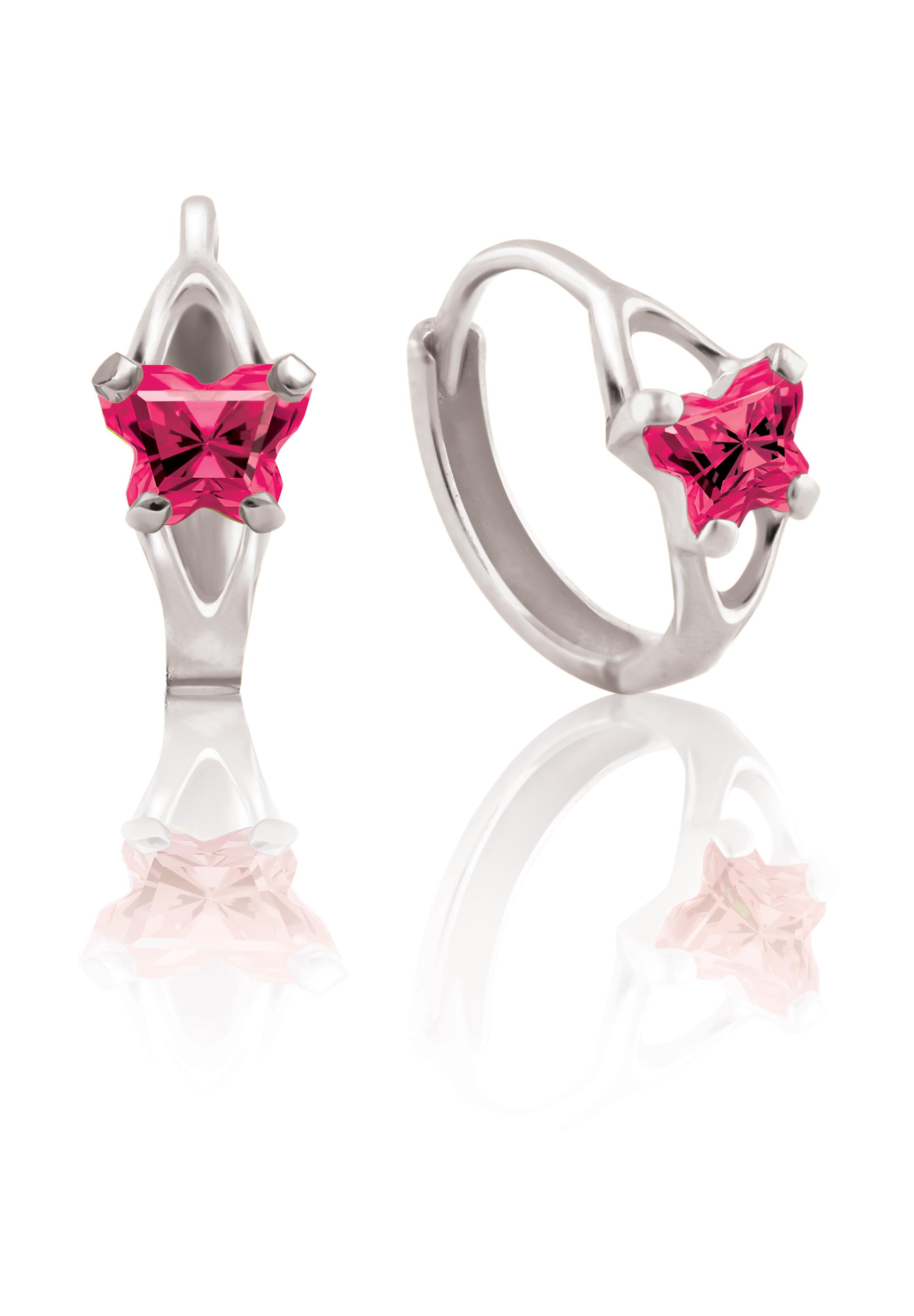 Boucles d'oreilles BFLY de genre Huggies pour bambins en argent sterling serties de zircons cubiques fuschia (mois de juillet)