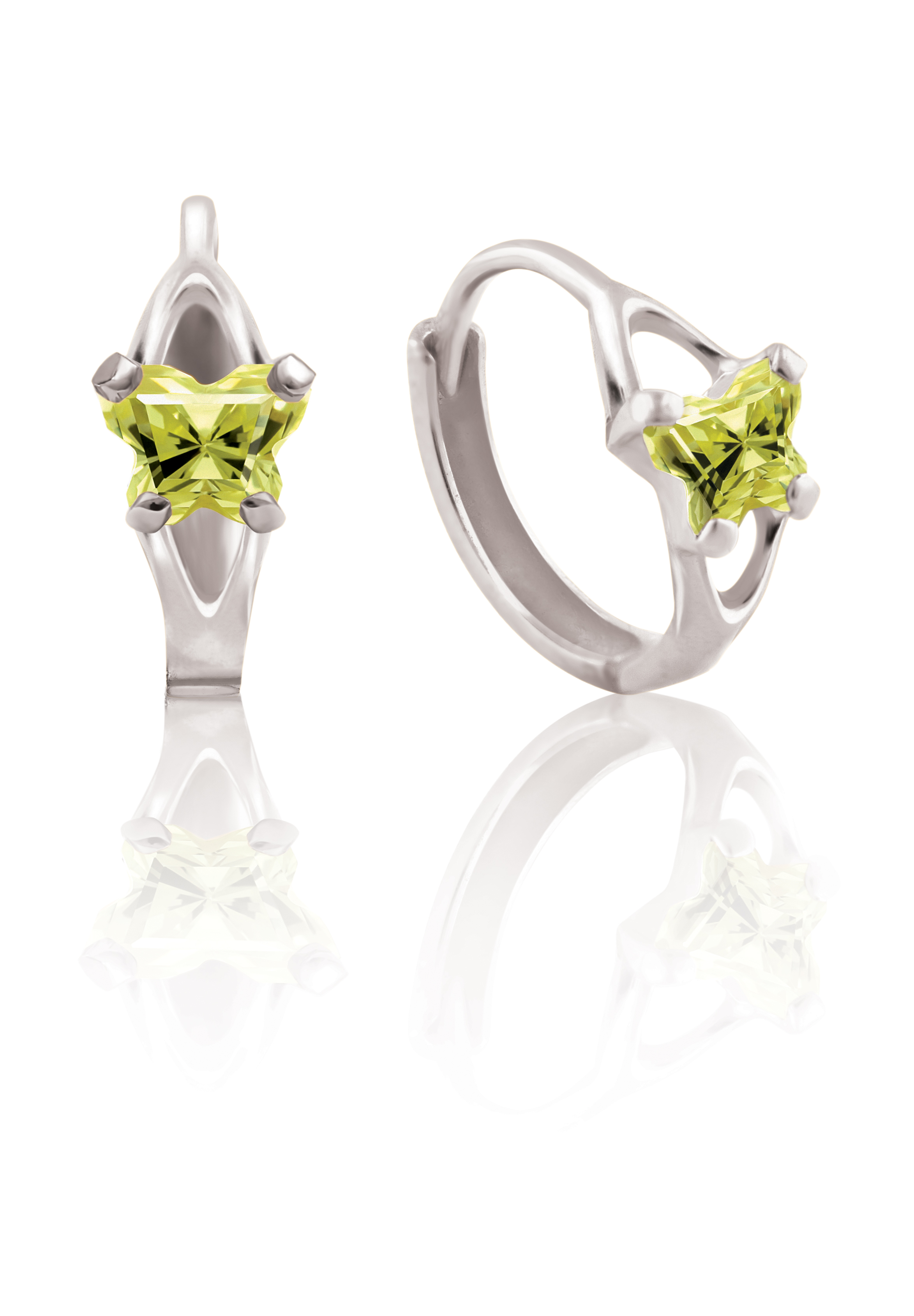 Boucles d'oreilles BFLY de genre Huggies pour bambins en argent sterling serties de zircons cubiques vert lime (mois d'août)