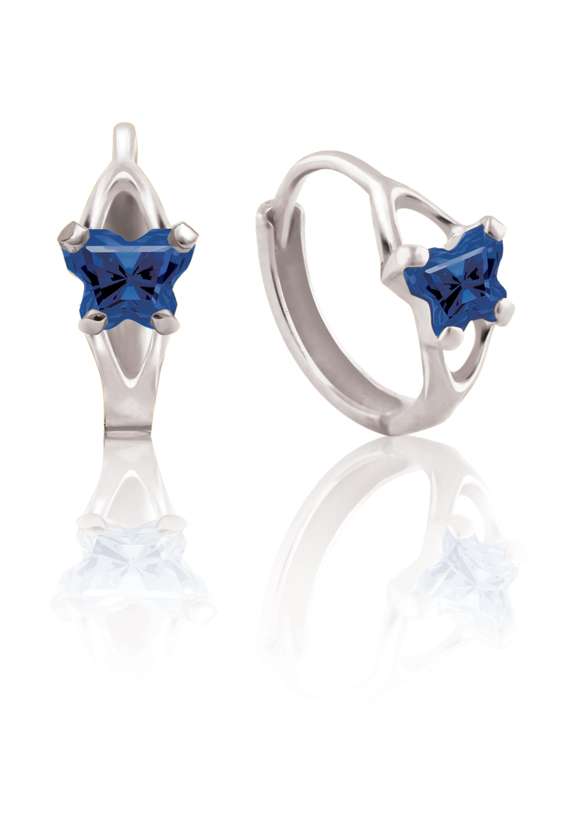 Boucles d'oreilles BFLY de genre Huggies pour bambins en argent sterling serties de zircons cubiques bleu marin (mois de septembre)