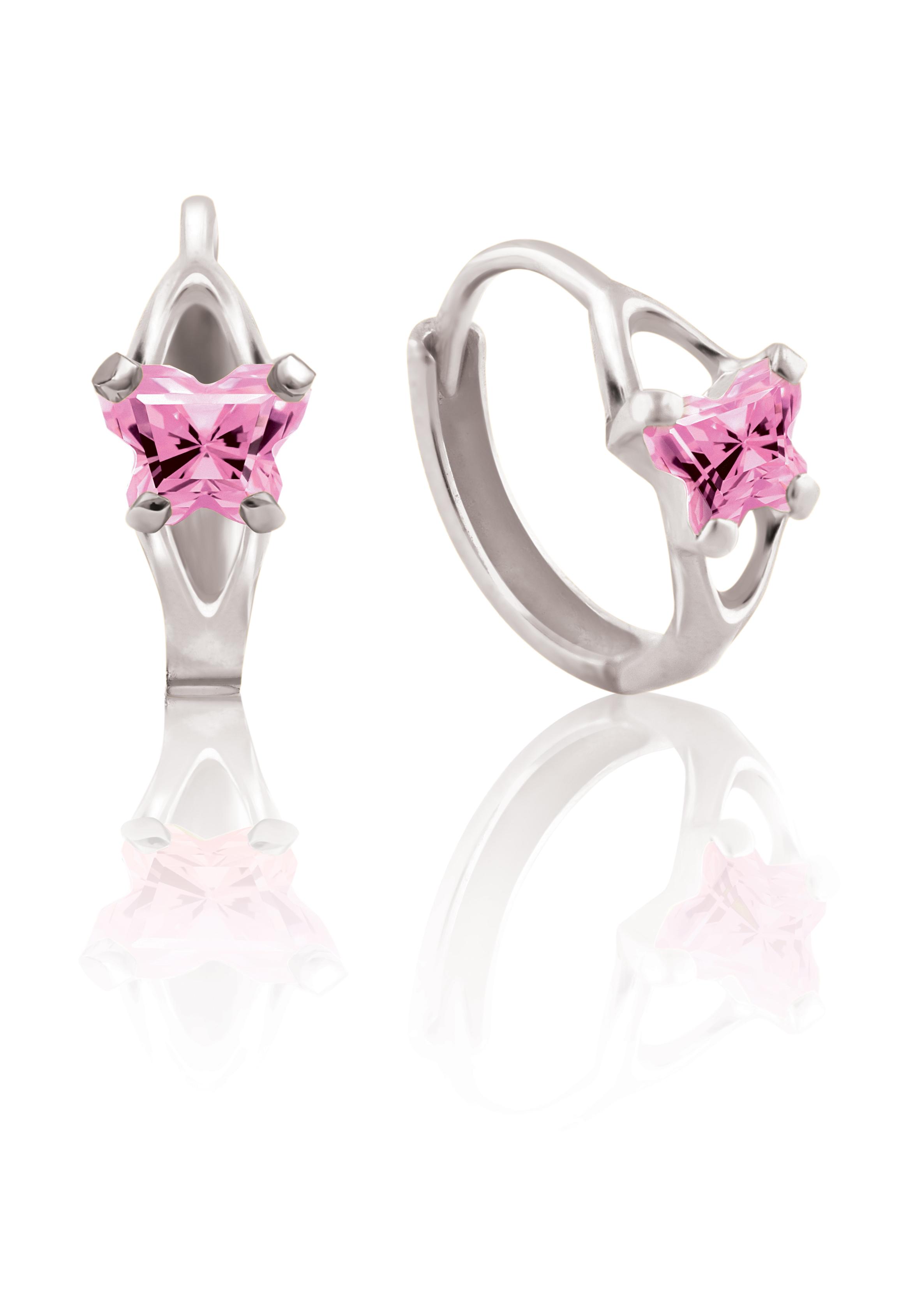 Boucles d'oreilles BFLY de genre Huggies pour bambins en argent sterling serties de zircons cubiques rose (mois d'octobre)