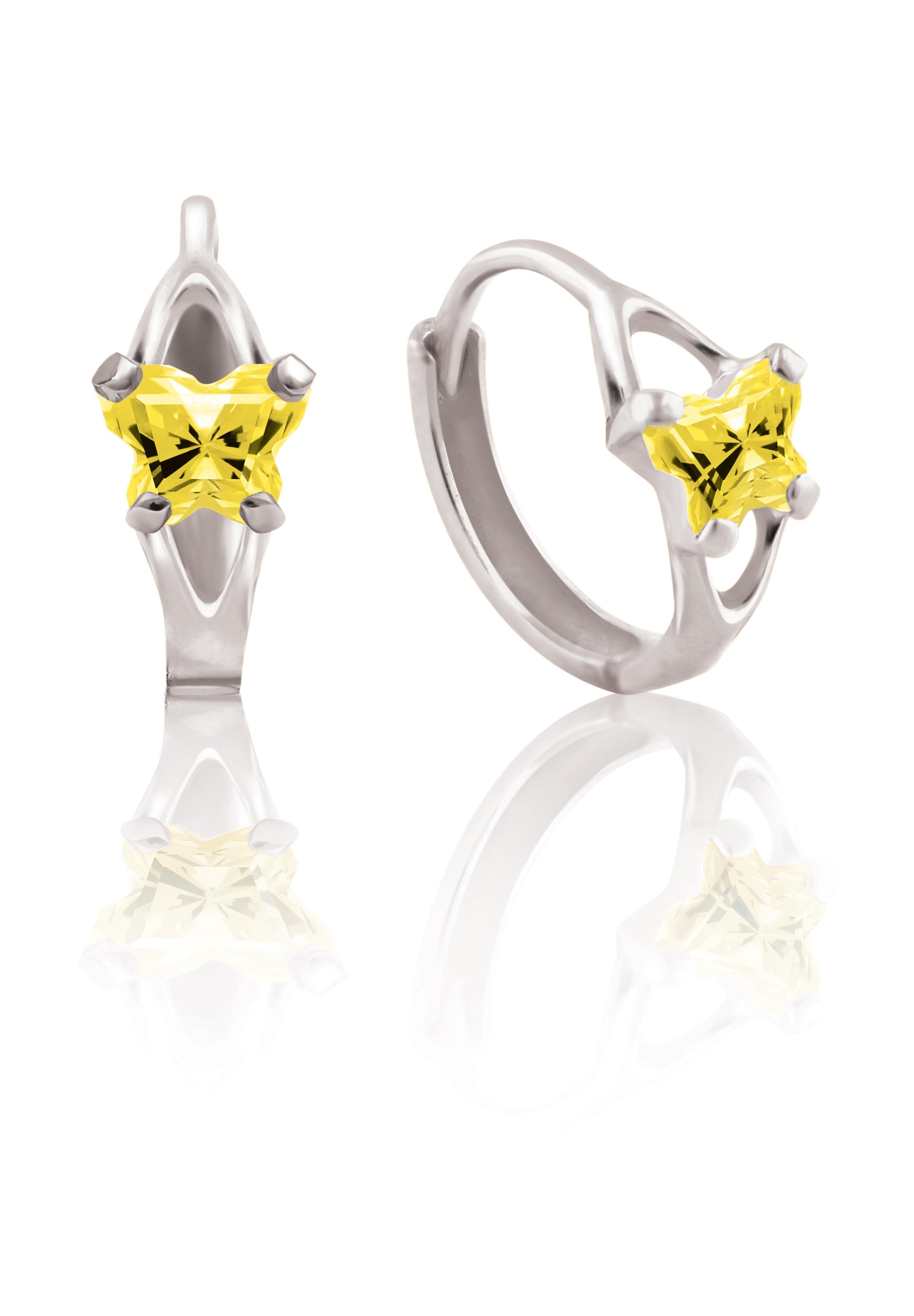 Boucles d'oreilles BFLY de genre Huggies pour bambins en argent sterling serties de zircons cubiques jaunes (mois de novembre)