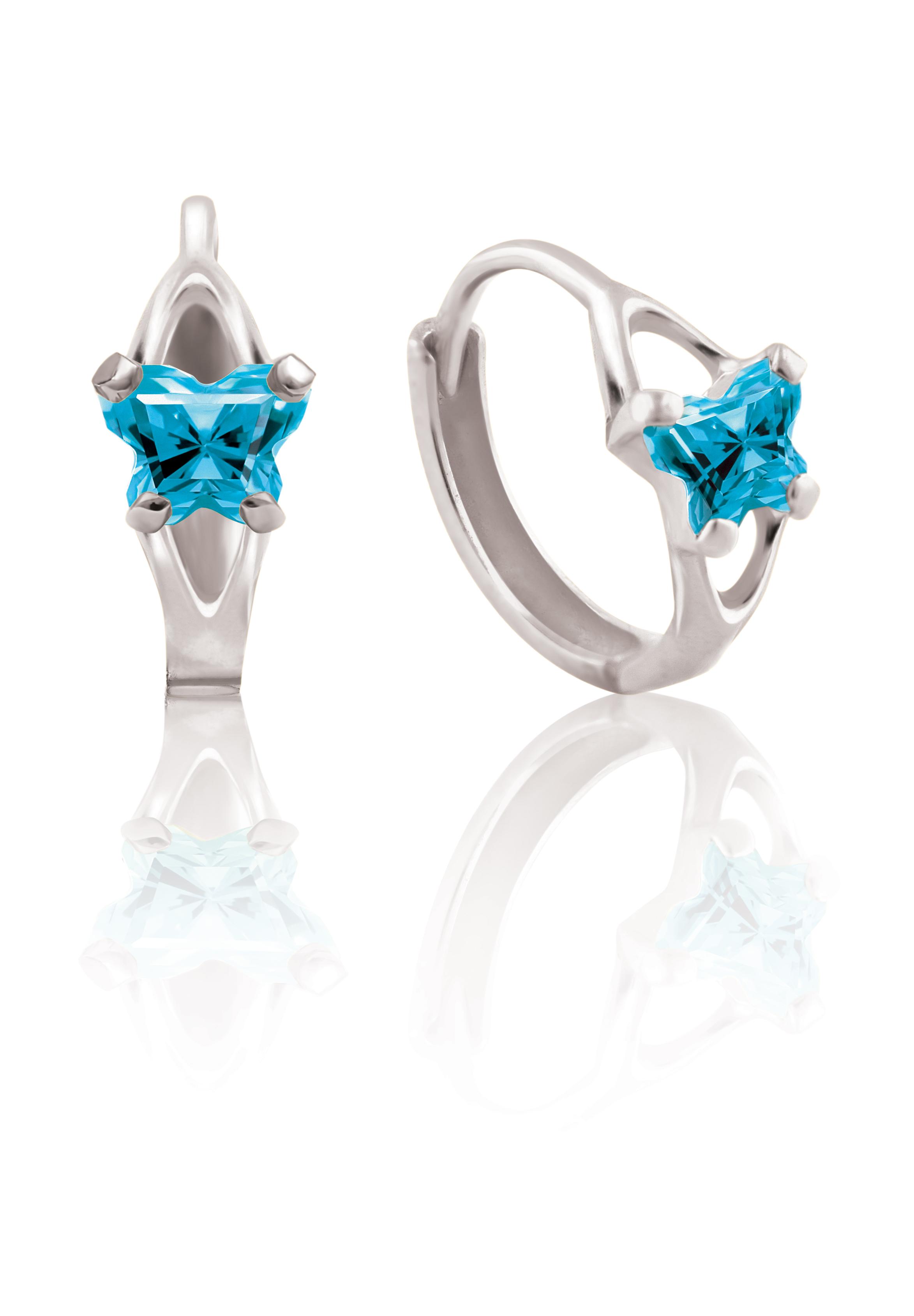 Boucles d'oreilles BFLY de genre Huggies pour bébé en argent sterling serties de zircons cubiques bleus (mois de décembre)