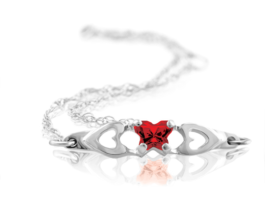 bracelet for babies or young girls in sterling silver with red cubic zirconia (month of January)