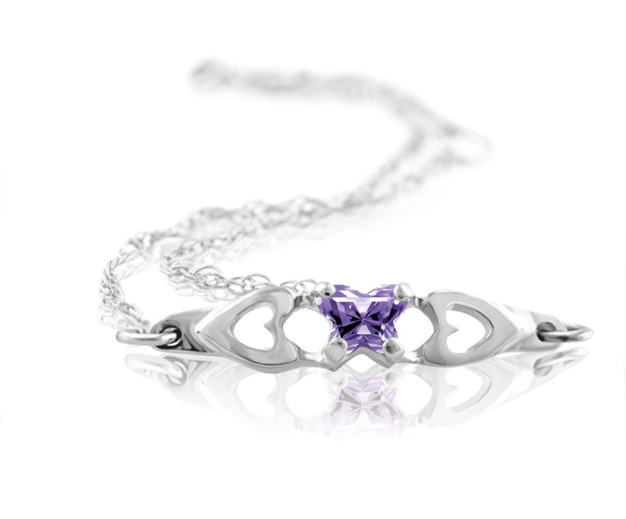 bracelet for babies or young girls in sterling silver with purple cubic zirconia (month of February)