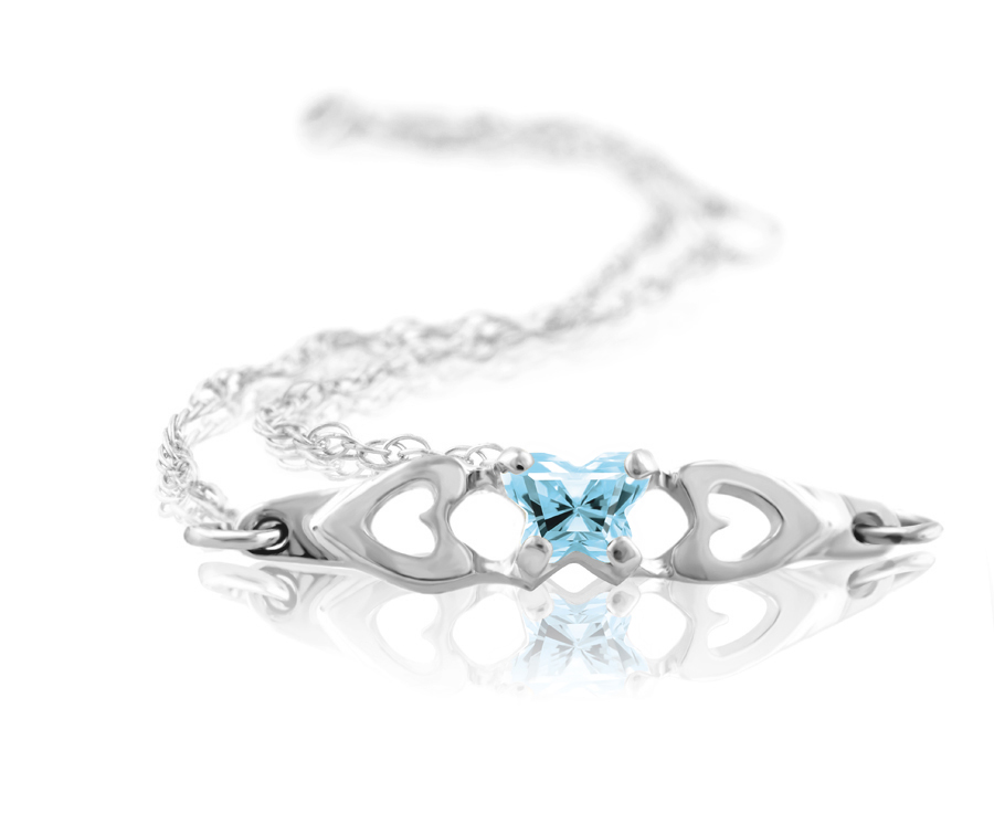 bracelet for babies or young girls in sterling silver with sky blue cubic zirconia (month of March)