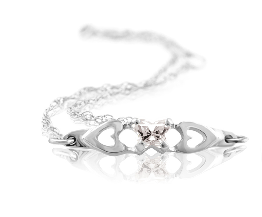 bracelet for babies or young girls in sterling silver with cubic zirconia (month of April)