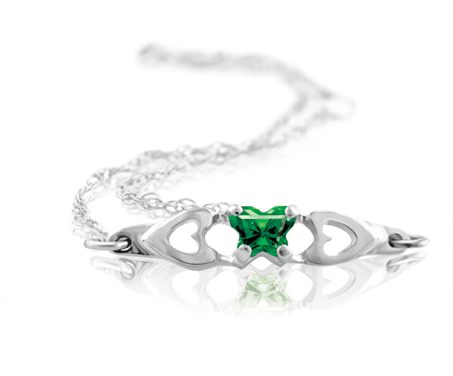 bracelet for babies or young girls in sterling silver with green cubic zirconia (month of May)