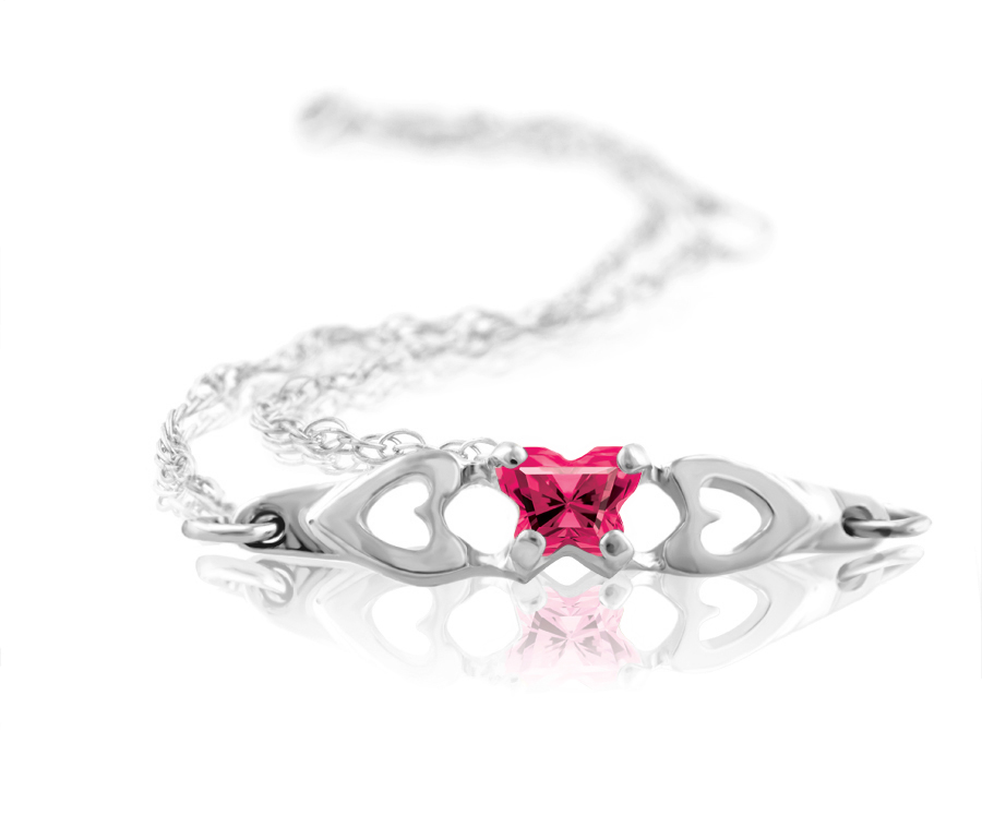 bracelet for babies or young girls in sterling silver with fuschia cubic zirconia (month of July)