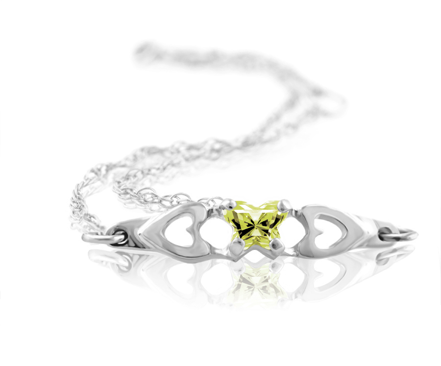 bracelet for babies or young girls in sterling silver with lime green cubic zirconia (month of Agust)
