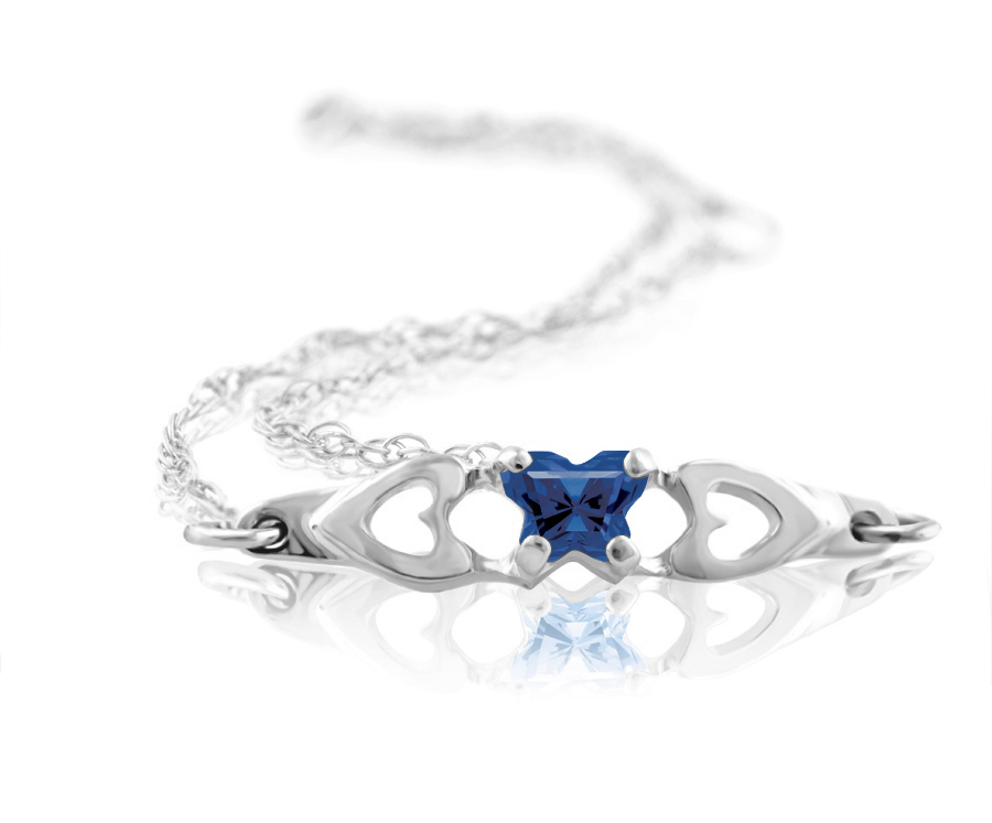 bracelet for babies or young girls in sterling silver with navy blue cubic zirconia (month of September)