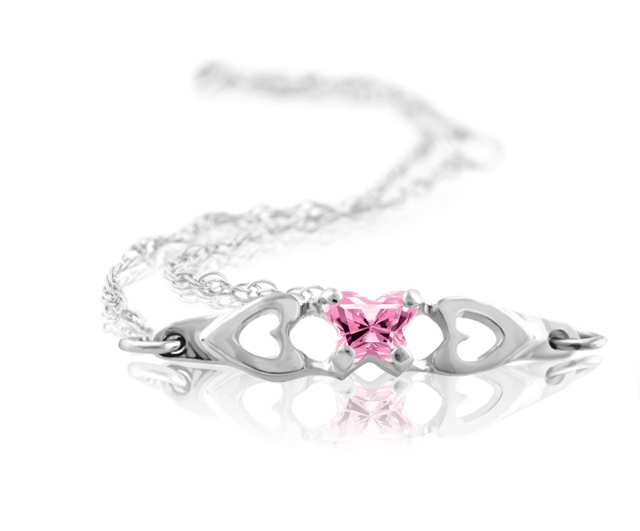 bracelet for babies or young girls in sterling silver with light pink zirconia (month of October)