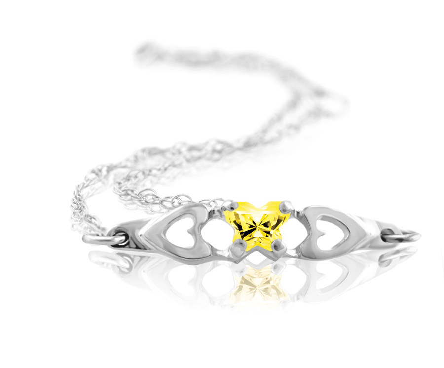 bracelet for babies or young girls in sterling silver with yellow cubic zirconia (month of November)