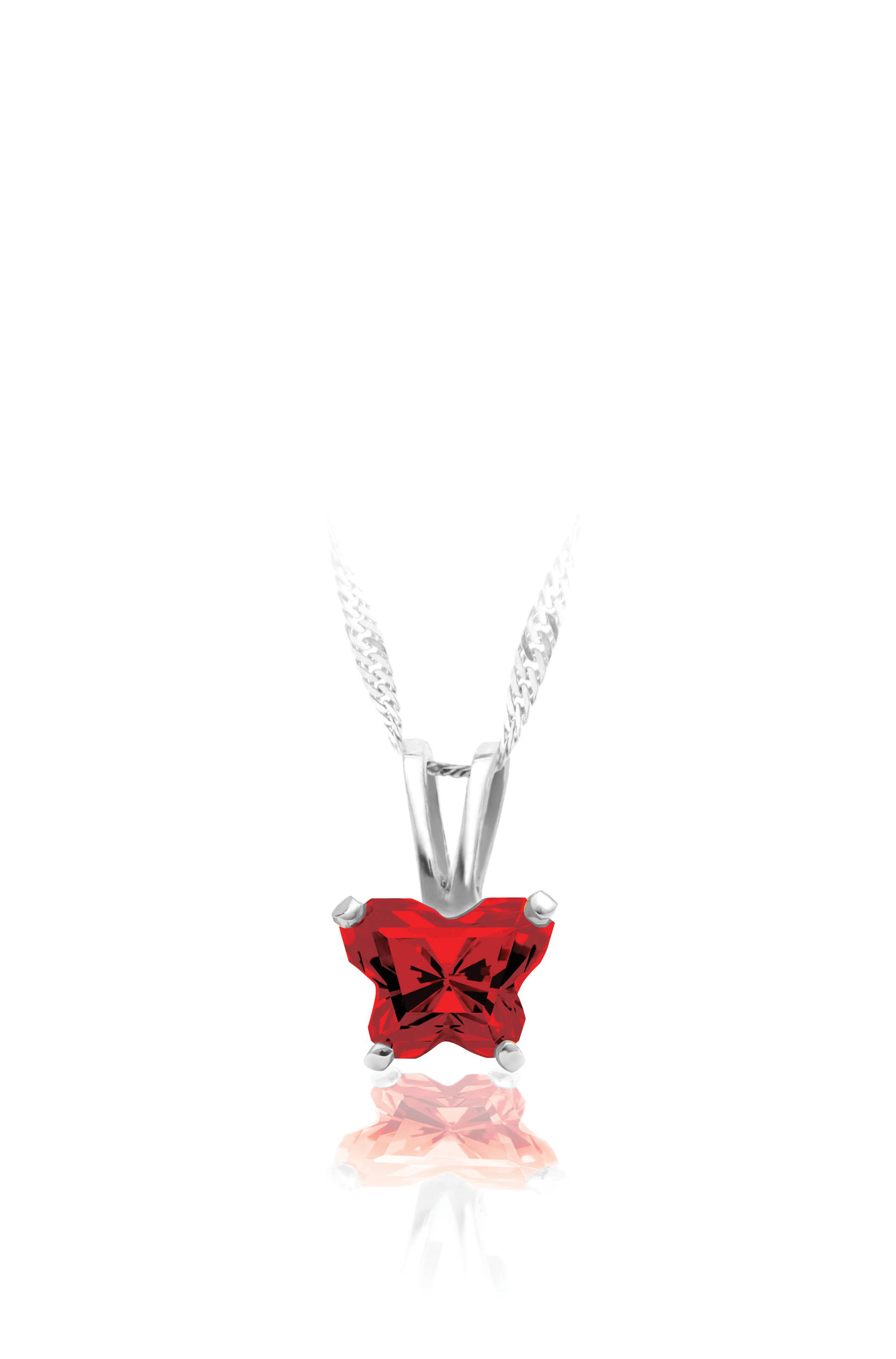pendant for babies in sterling silver with red cubic zirconia (month of January) - Chain included