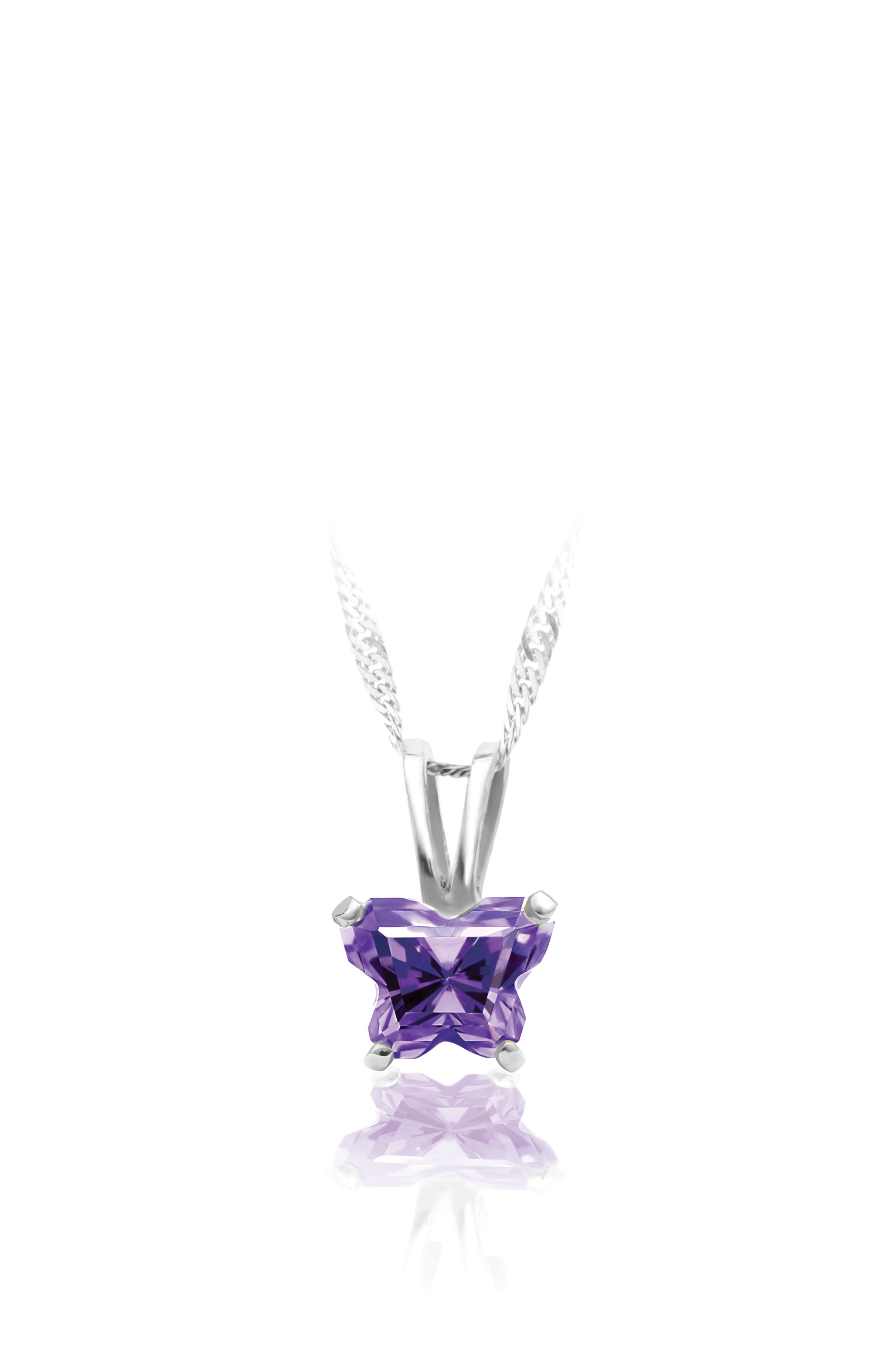 pendant for babies in sterling silver with purple cubic zirconia (month of February) - Chain included