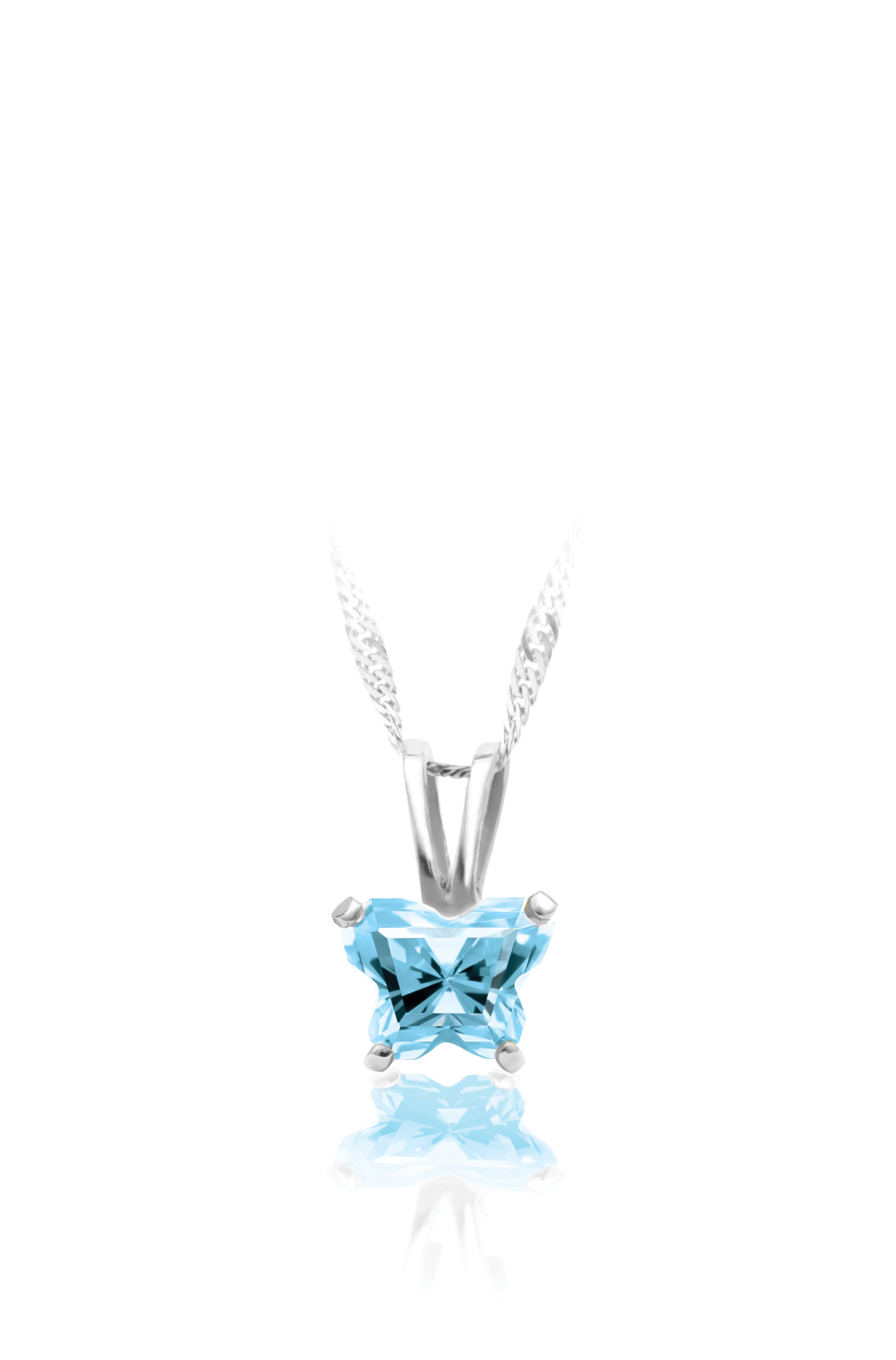 pendant for babies in sterling silver with sky blue cubic zirconia (month of March) - Chain included