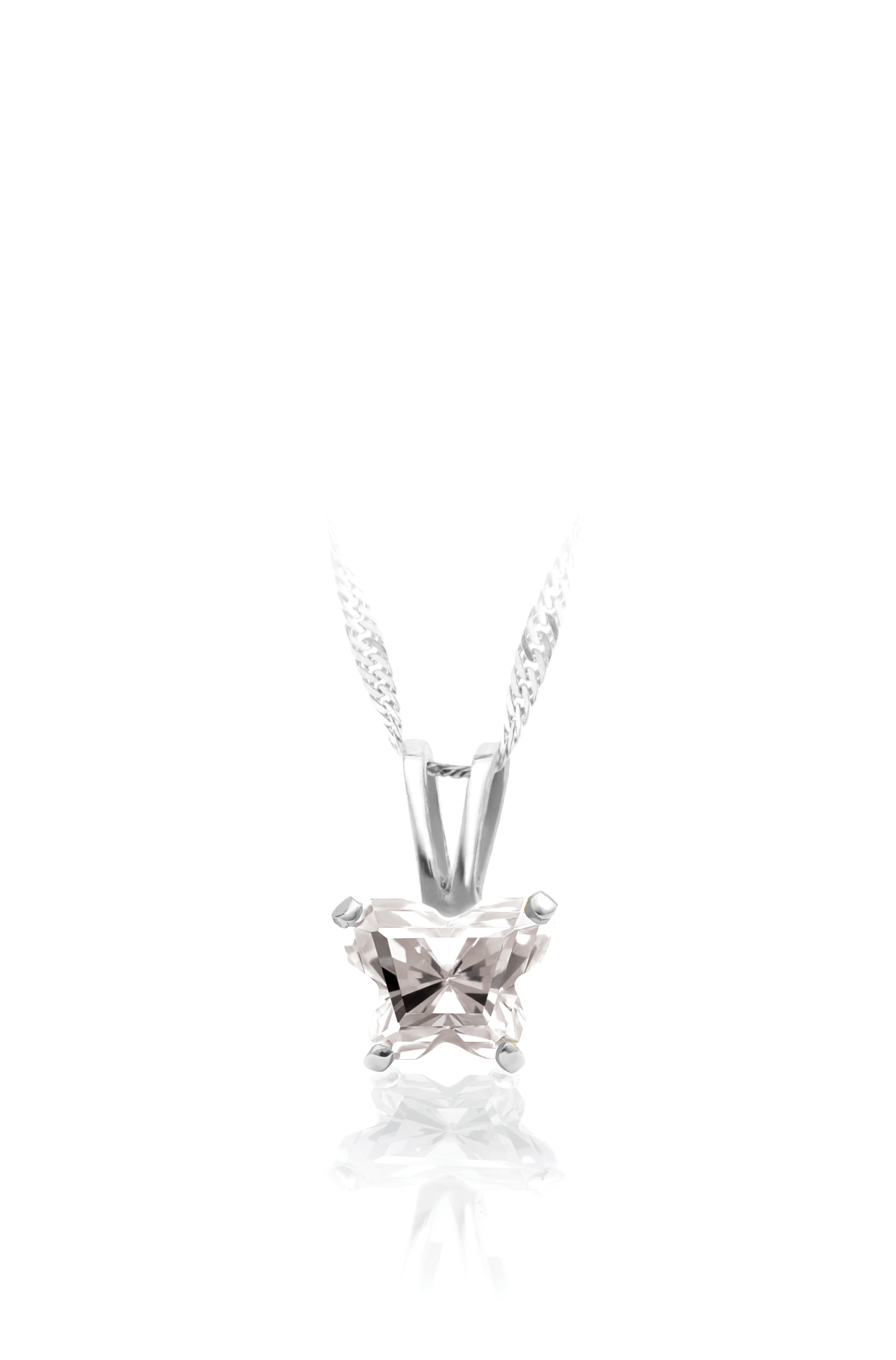 pendant for babies in sterling silver with cubic zirconia (month of April) - Chain included