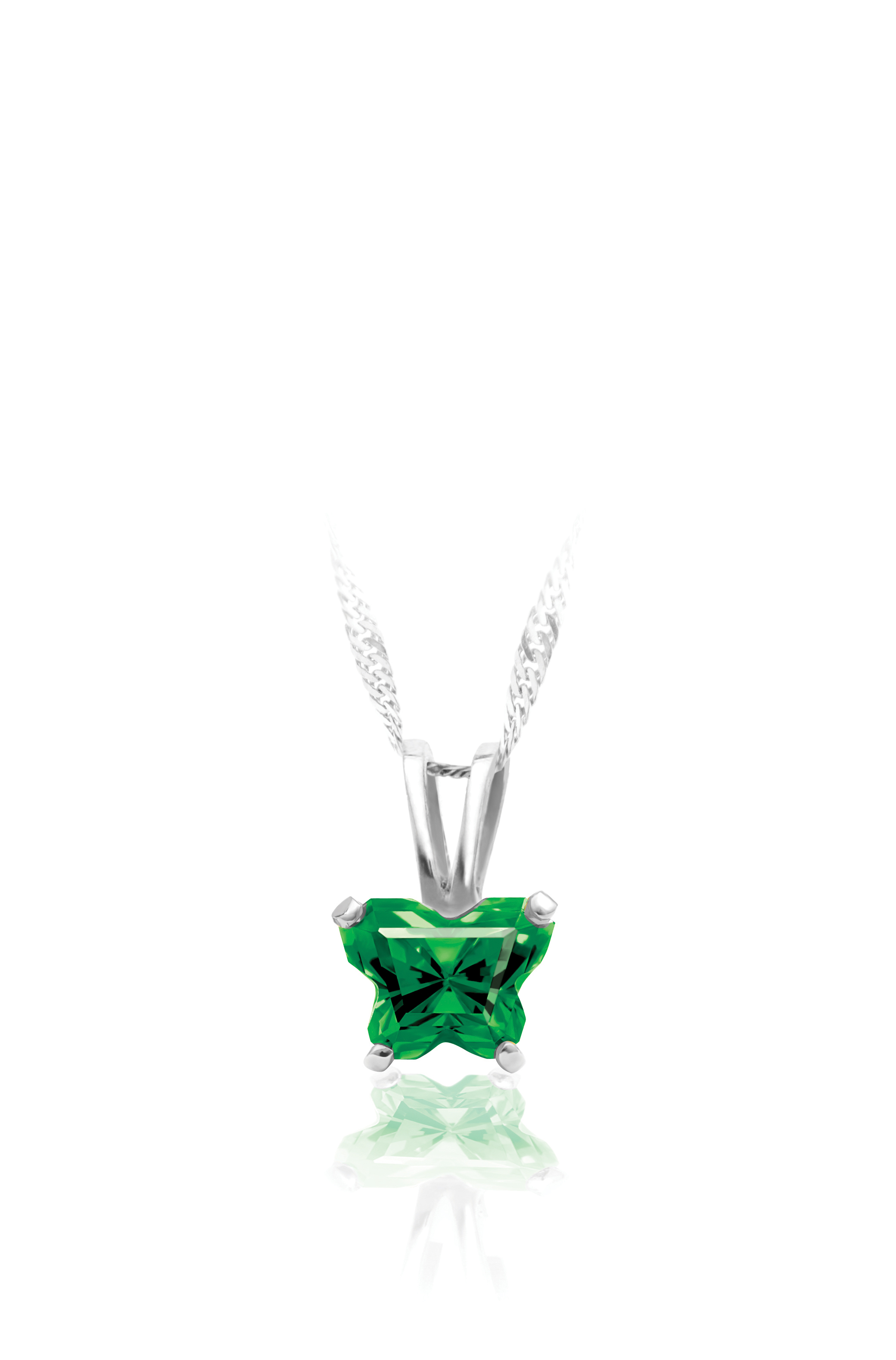 pendant for babies in sterling silver with green cubic zirconia (month of May) - Chain included