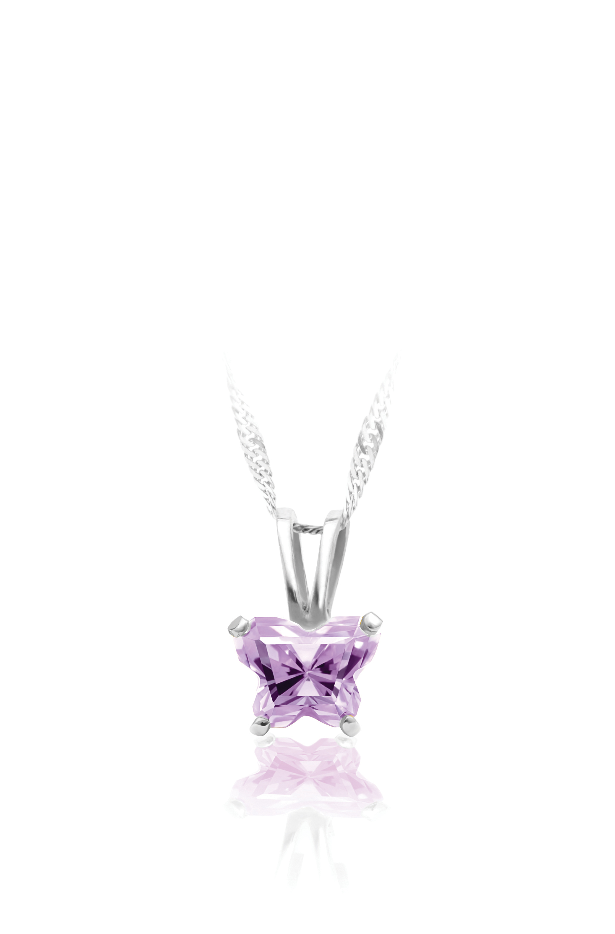 pendant for babies in sterling silver with lilac cubic zirconia (month of June) - Chain included
