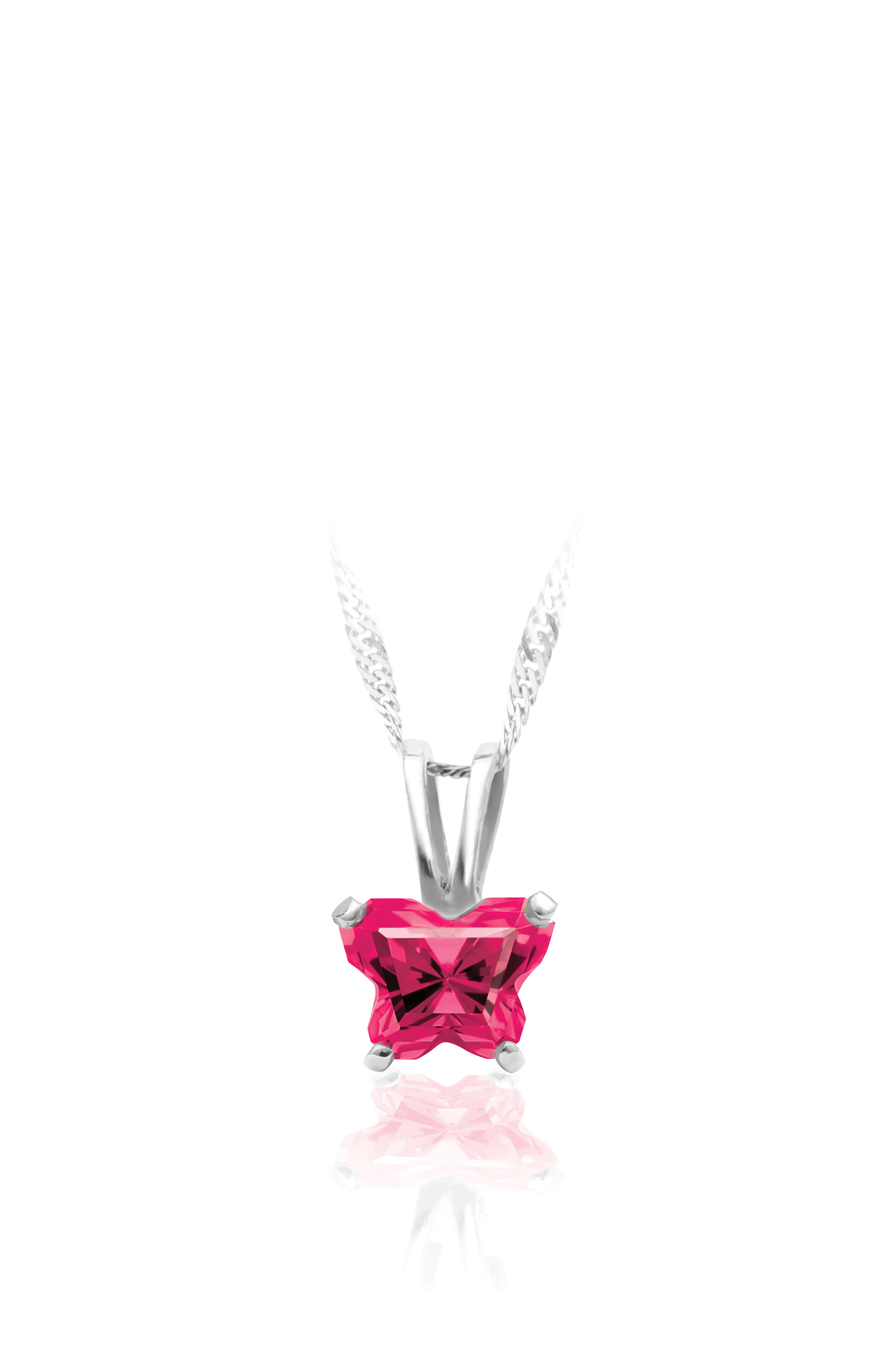 pendant for babies in sterling silver with fuschia cubic zirconia (month of July) - Chain included
