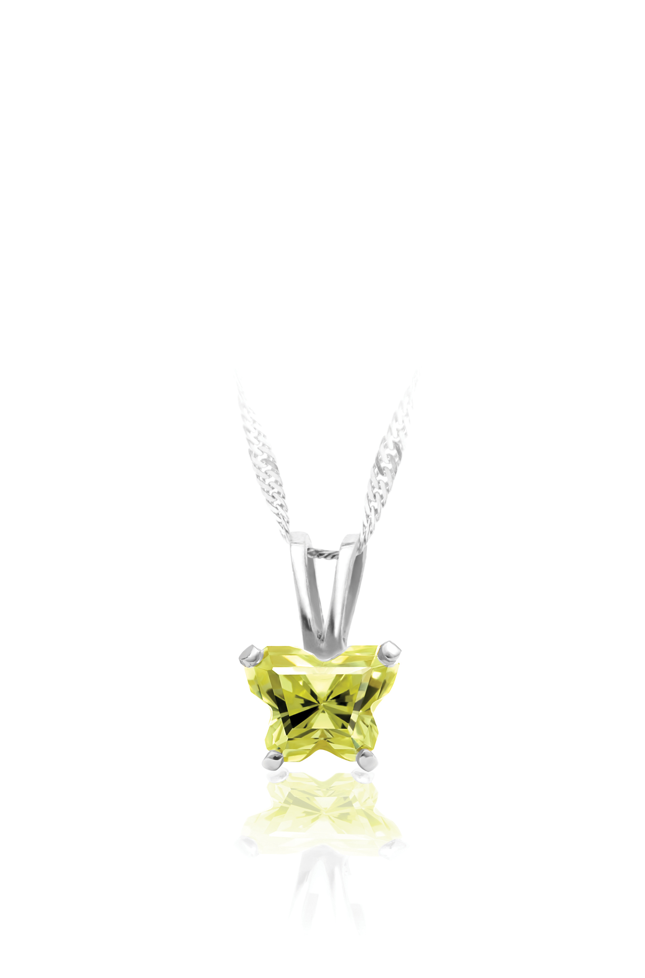 pendant for babies in sterling silver with lime green cubic zirconia (month of August) - Chain included