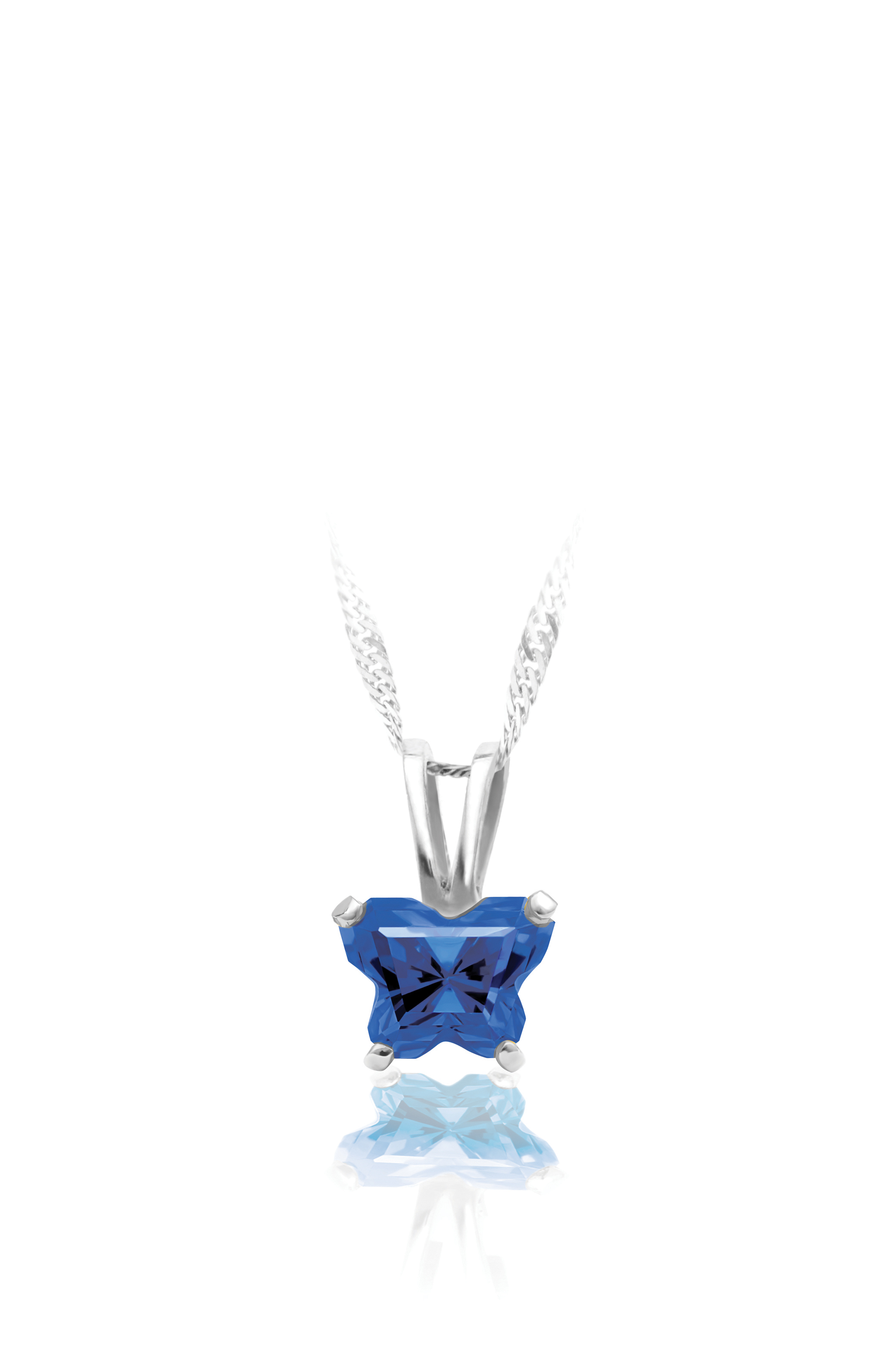 pendant for babies in sterling silver with navy blue cubic zirconia (month of September) - Chain included