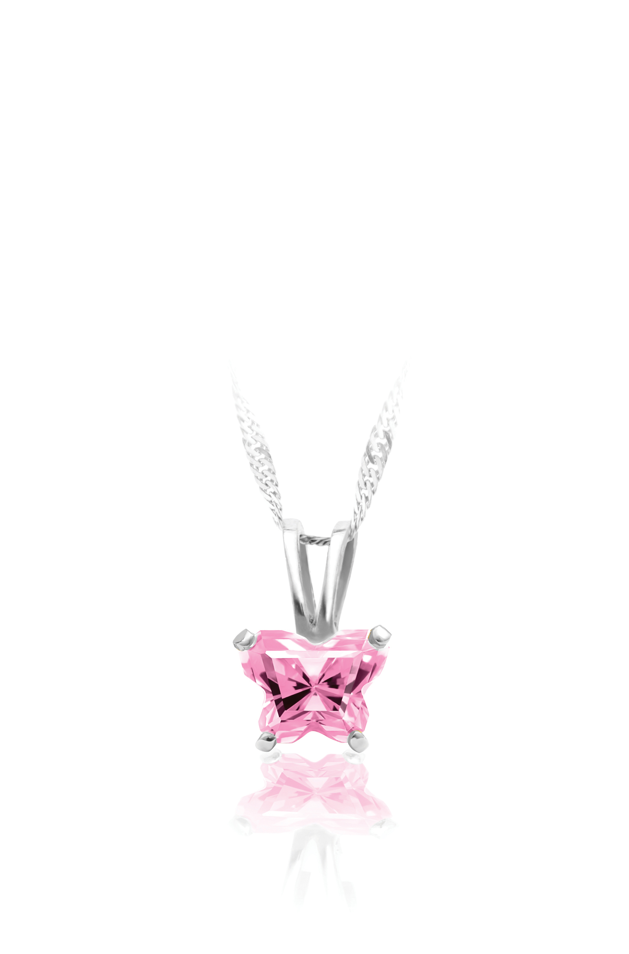 pendant for babies in sterling silver with light pink zirconia (month of October) - Chain included