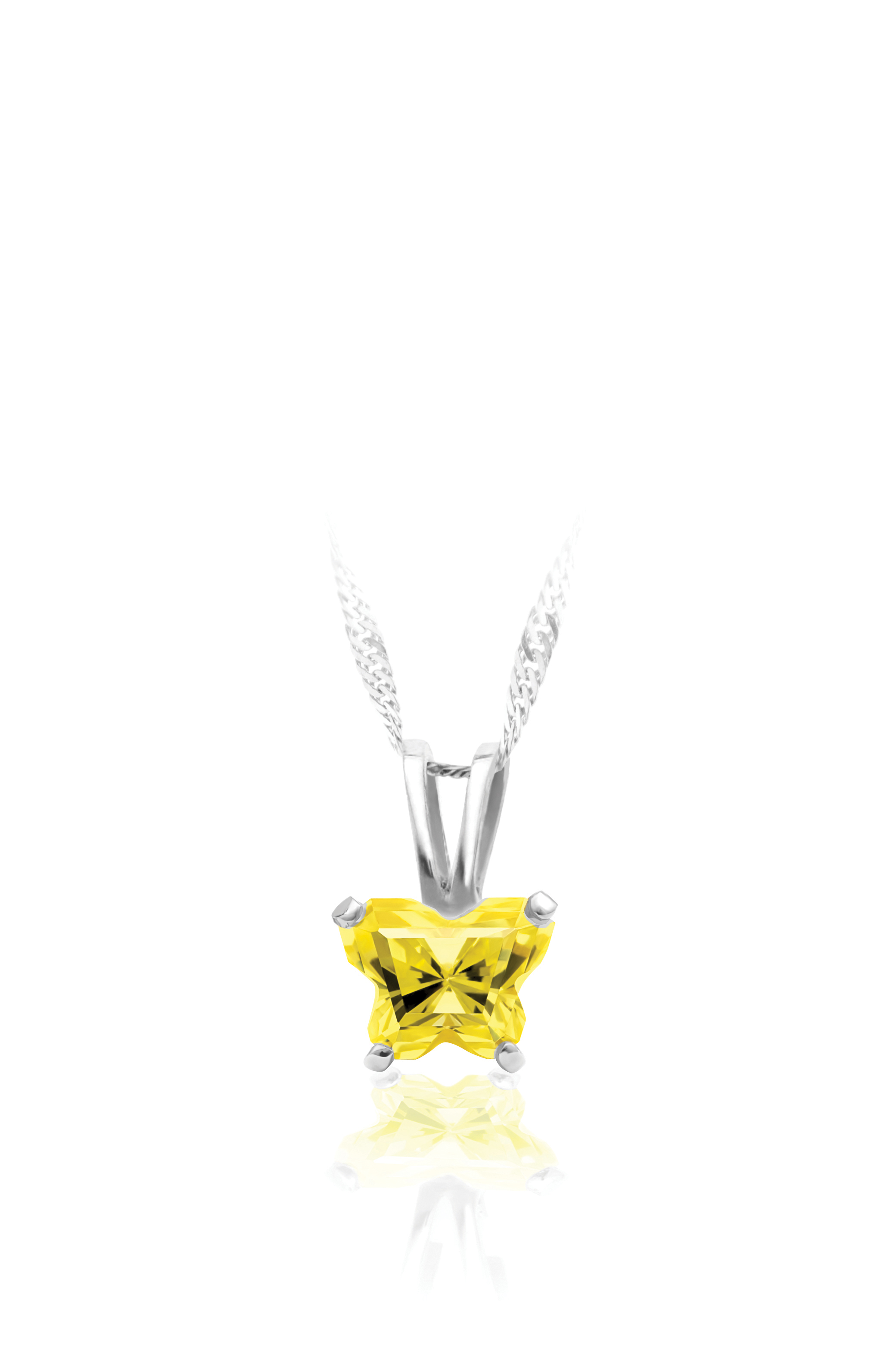pendant for babies in sterling silver with yellow cubic zirconia (month of November) - Chain included