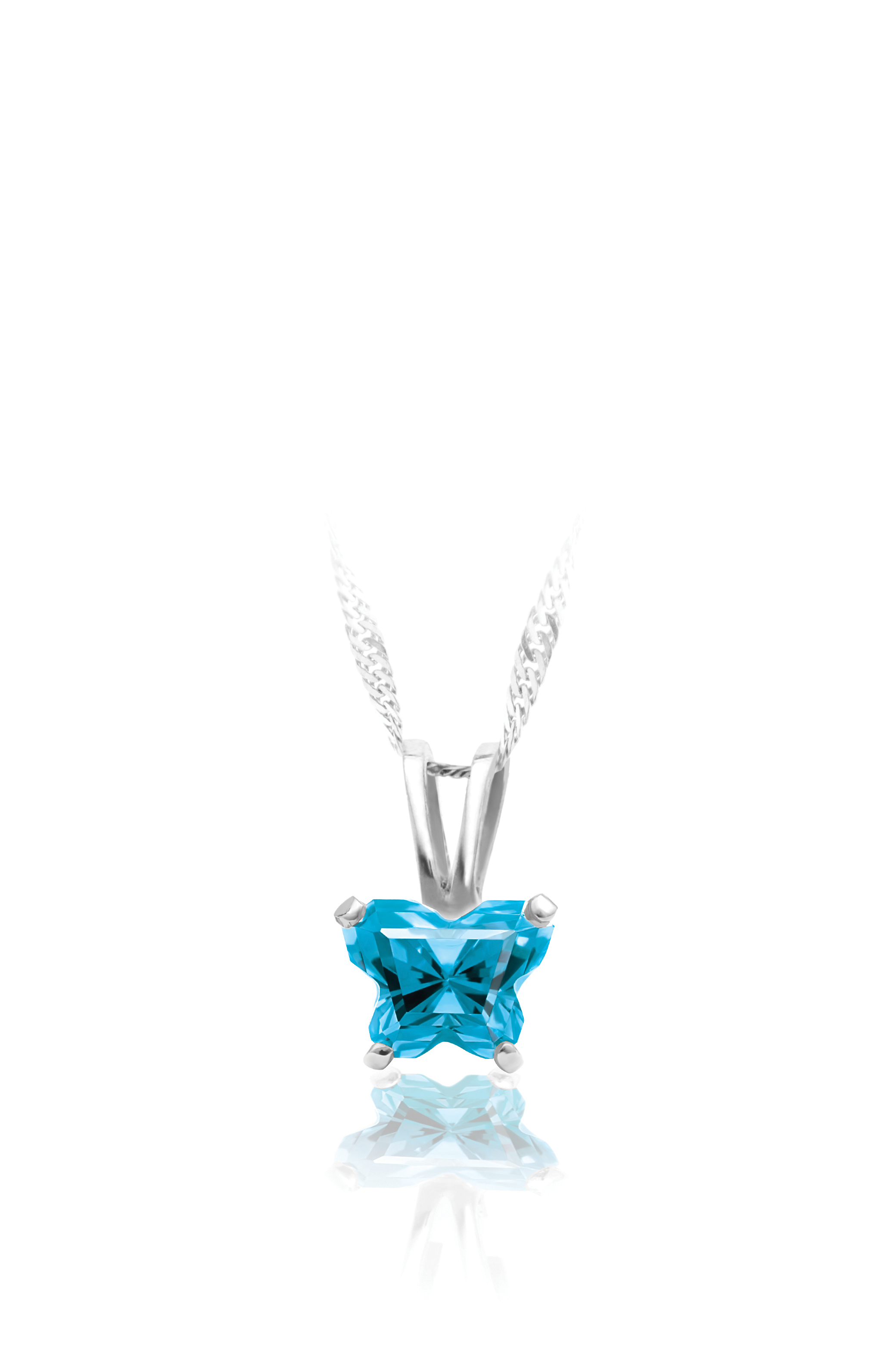 pendant for babies in sterling silver with blue cubic zirconia (month of December) - Chain included