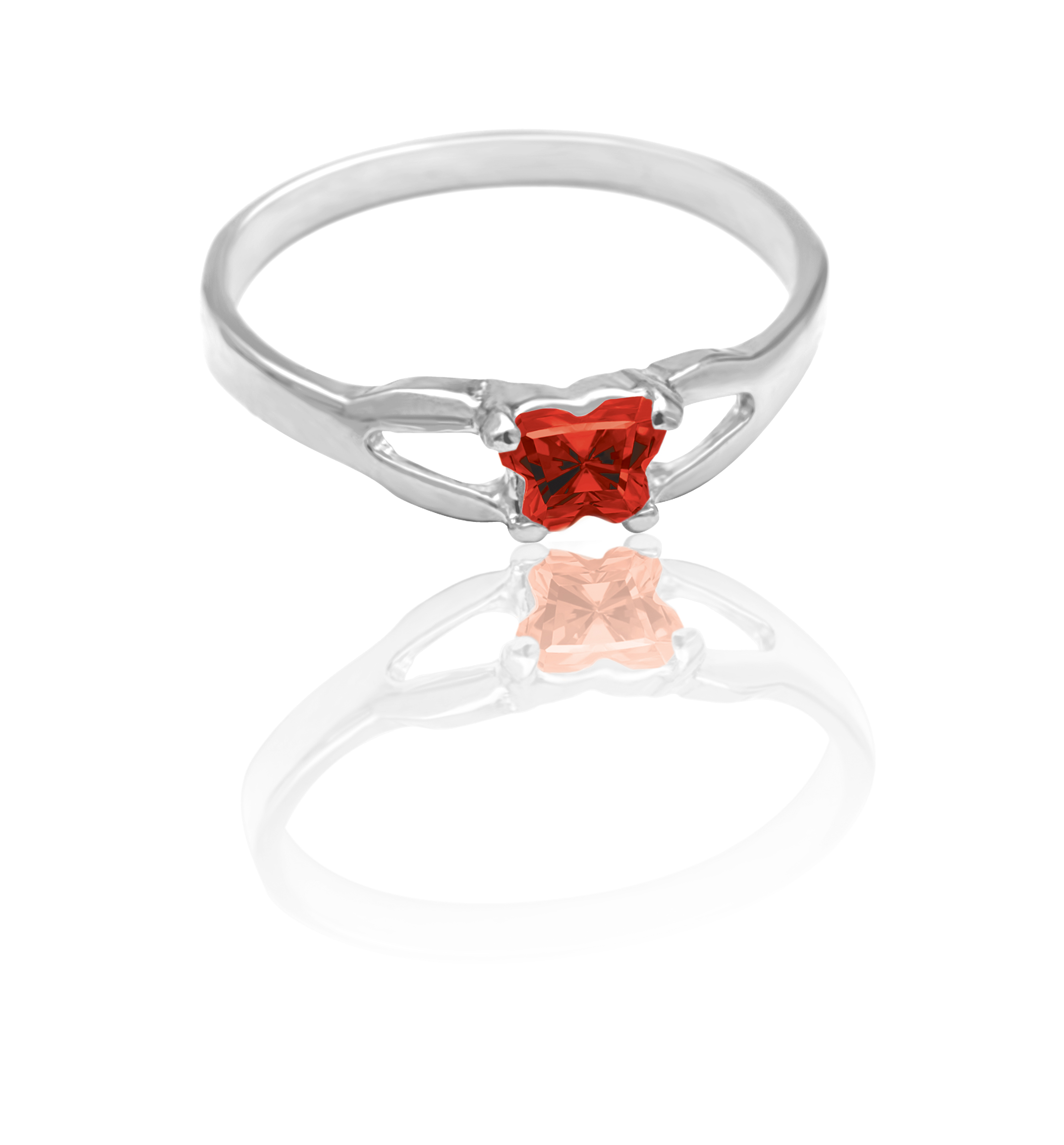 children ring in sterling silver with red cubic zirconia (month of January)*