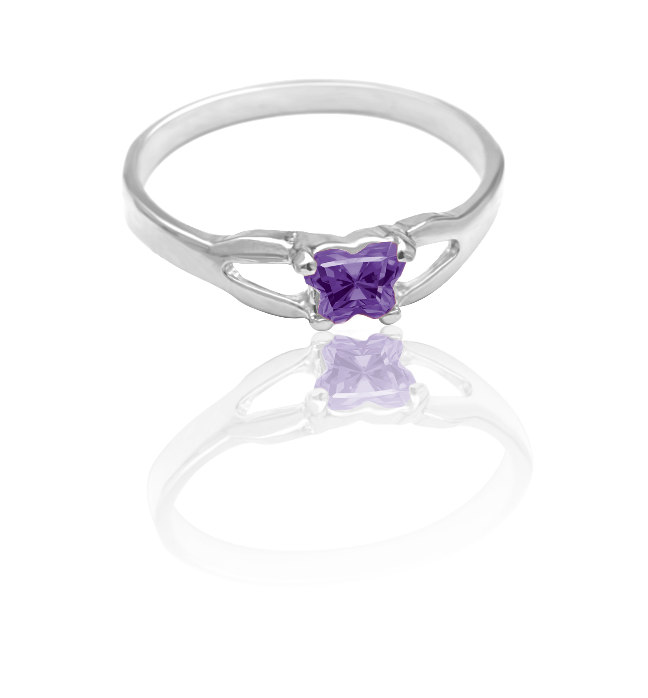 children's ring in sterling silver with purple cubic zirconia (month of February)*