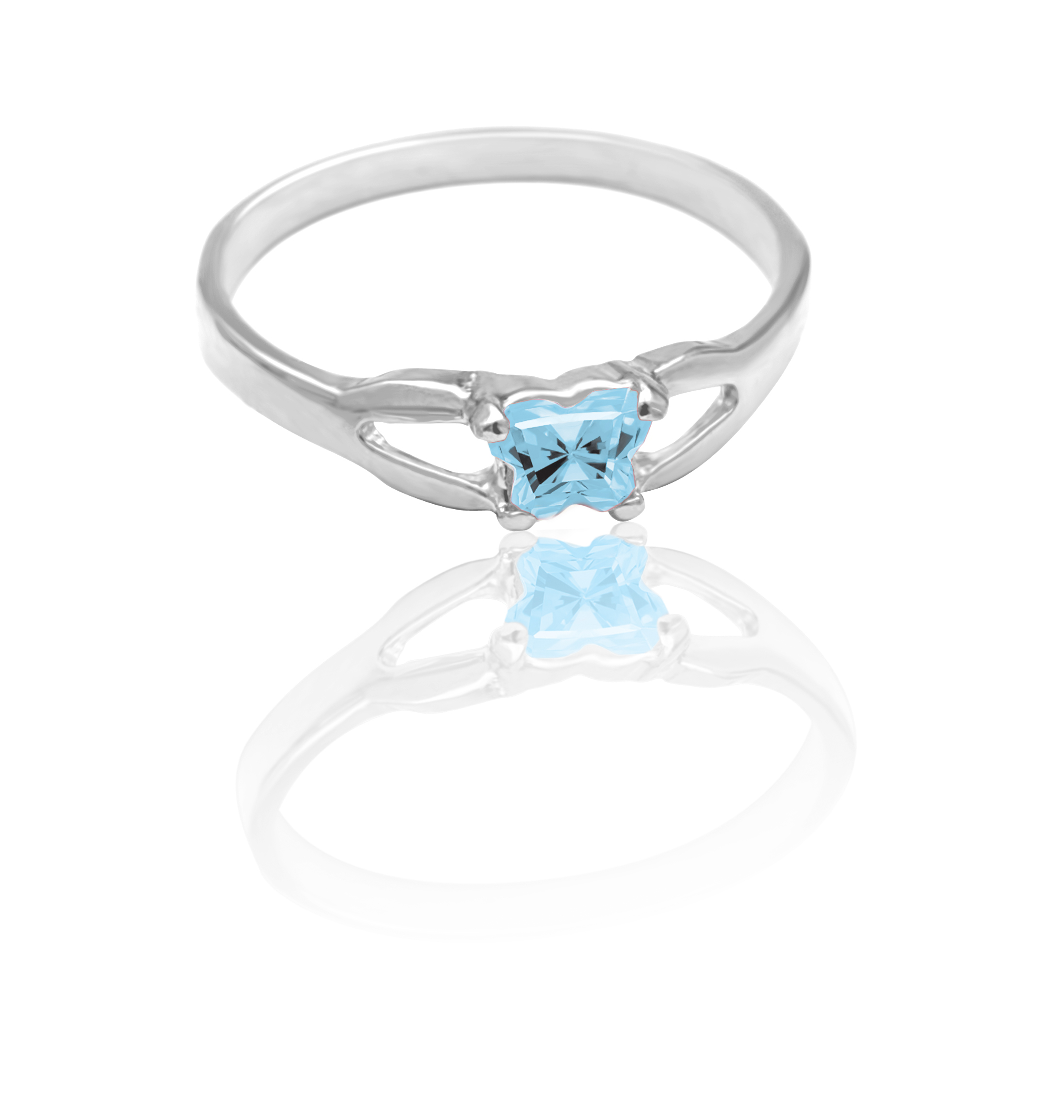 children ring in sterling silver with sky blue cubic zirconia (month of March)*