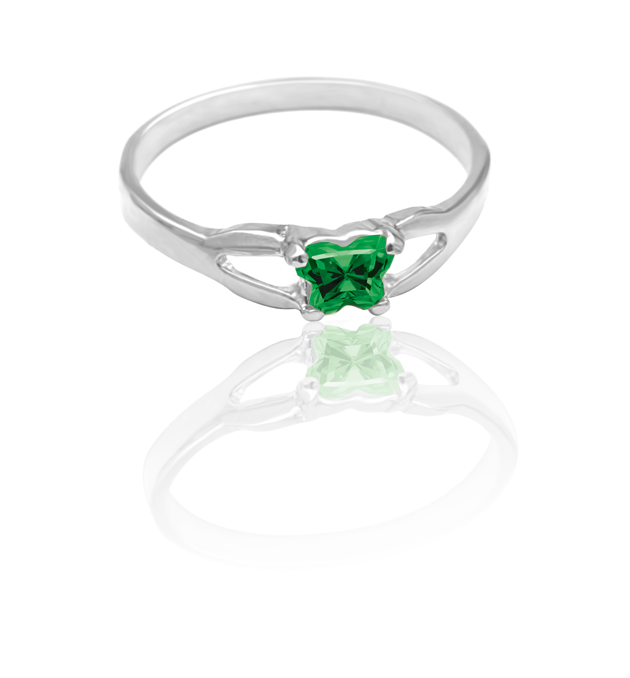children ring in sterling silver with green cubic zirconia (month of May)*