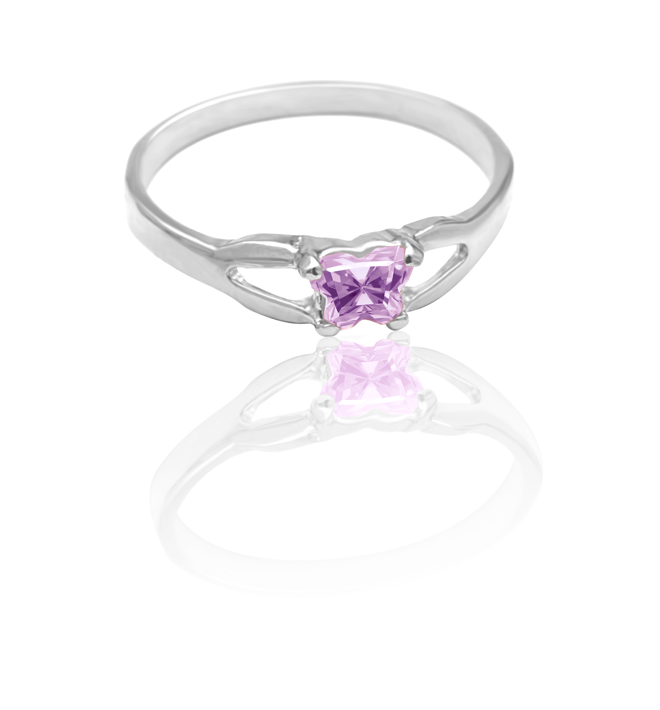 children ring in sterling silver with lilac cubic zirconia (month of June)*