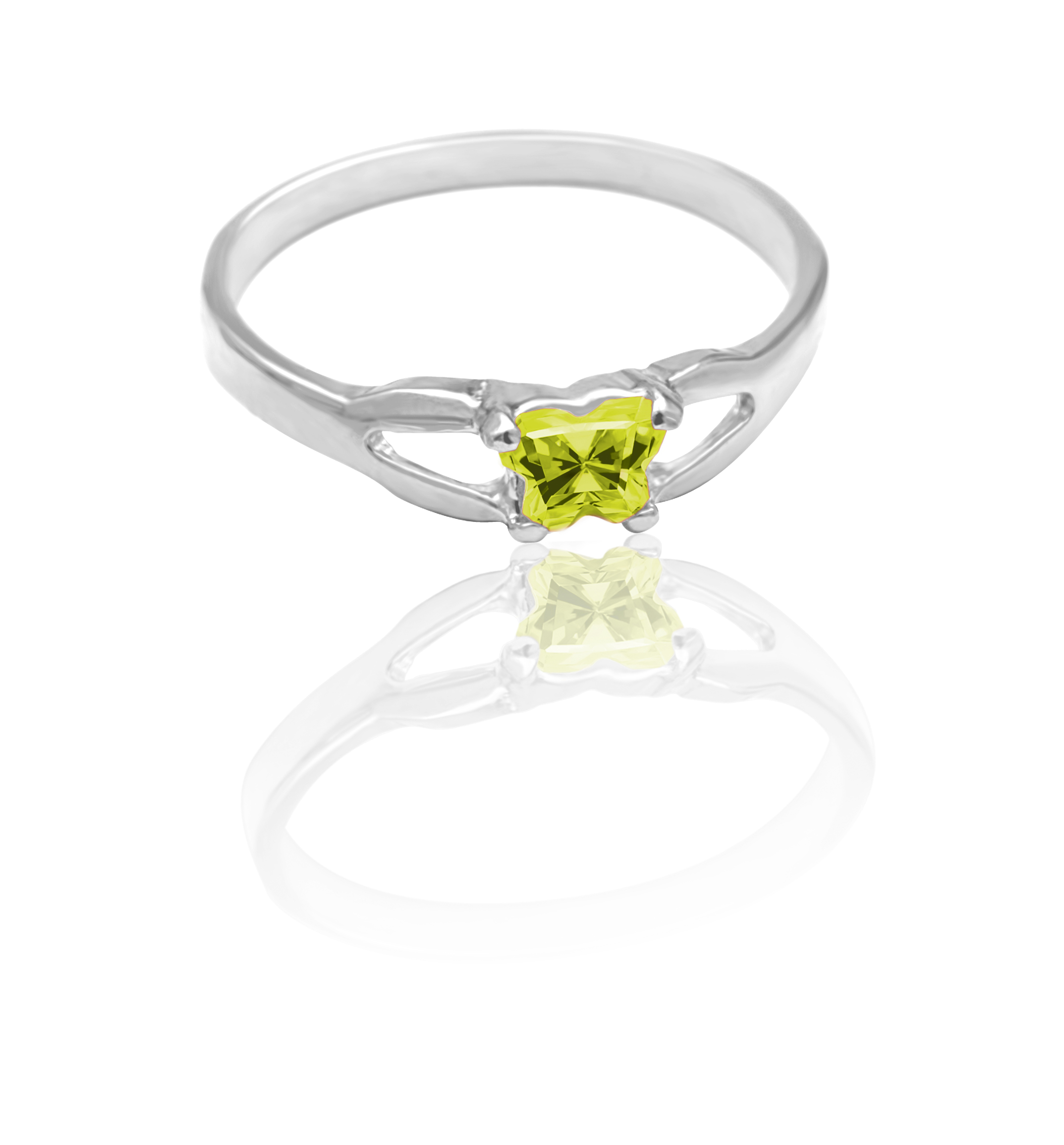 children ring in sterling silver with lime green cubic zirconia (month of August)*