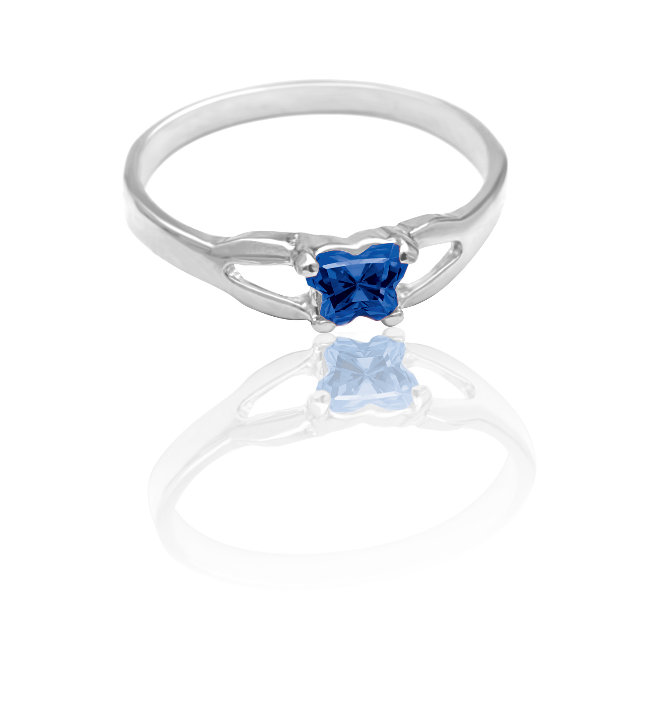 children ring in sterling silver with navy blue cubic zirconia (month of September)*