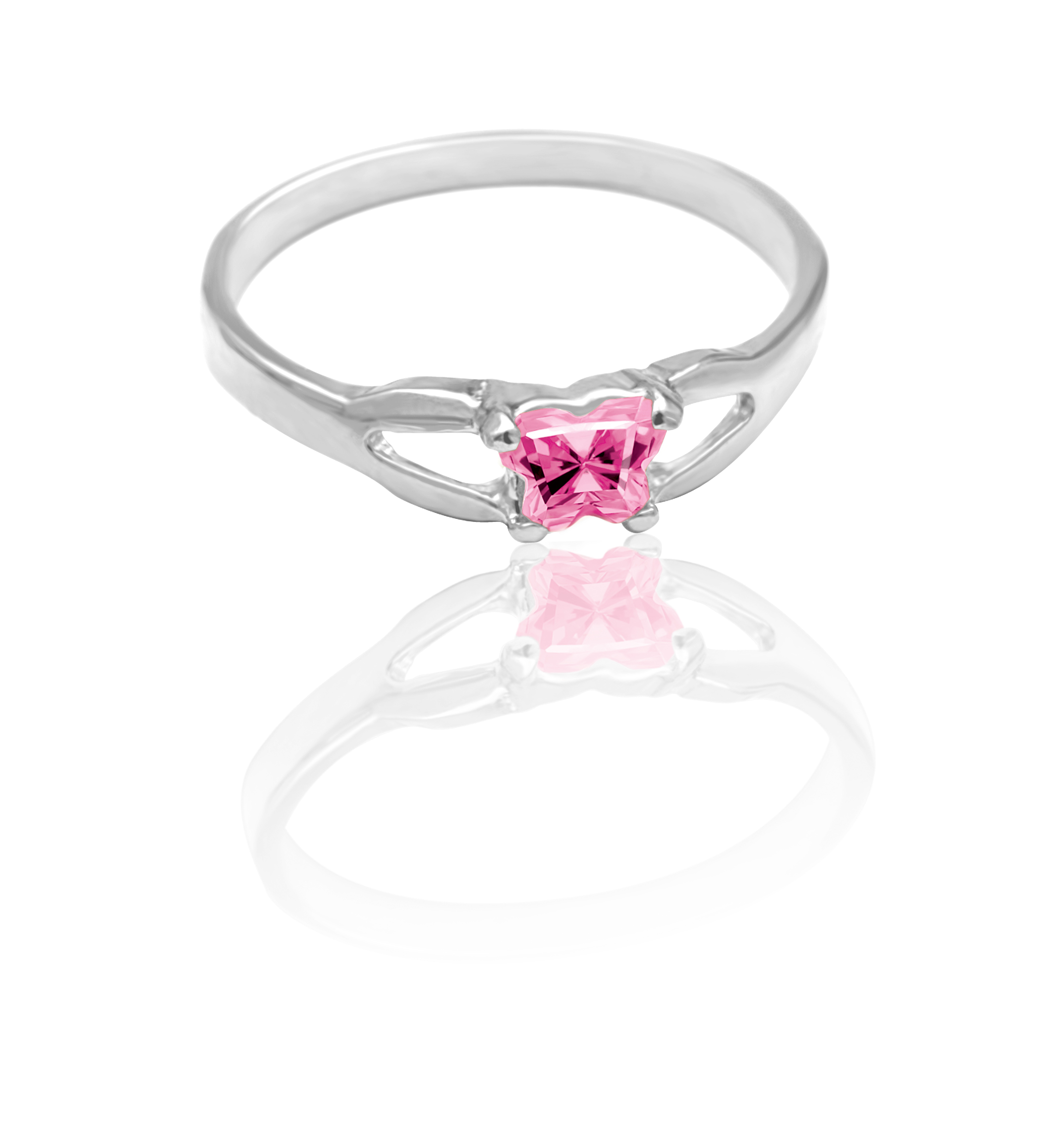 children's ring in sterling silver with light pink cubic zirconia (month of October)*