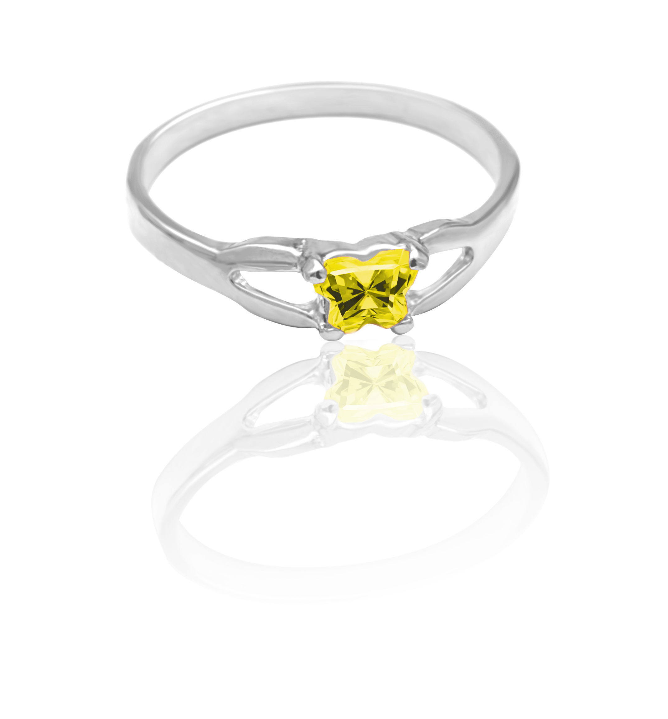 children ring in sterling silver with yellow cubic zirconia (month of November)*