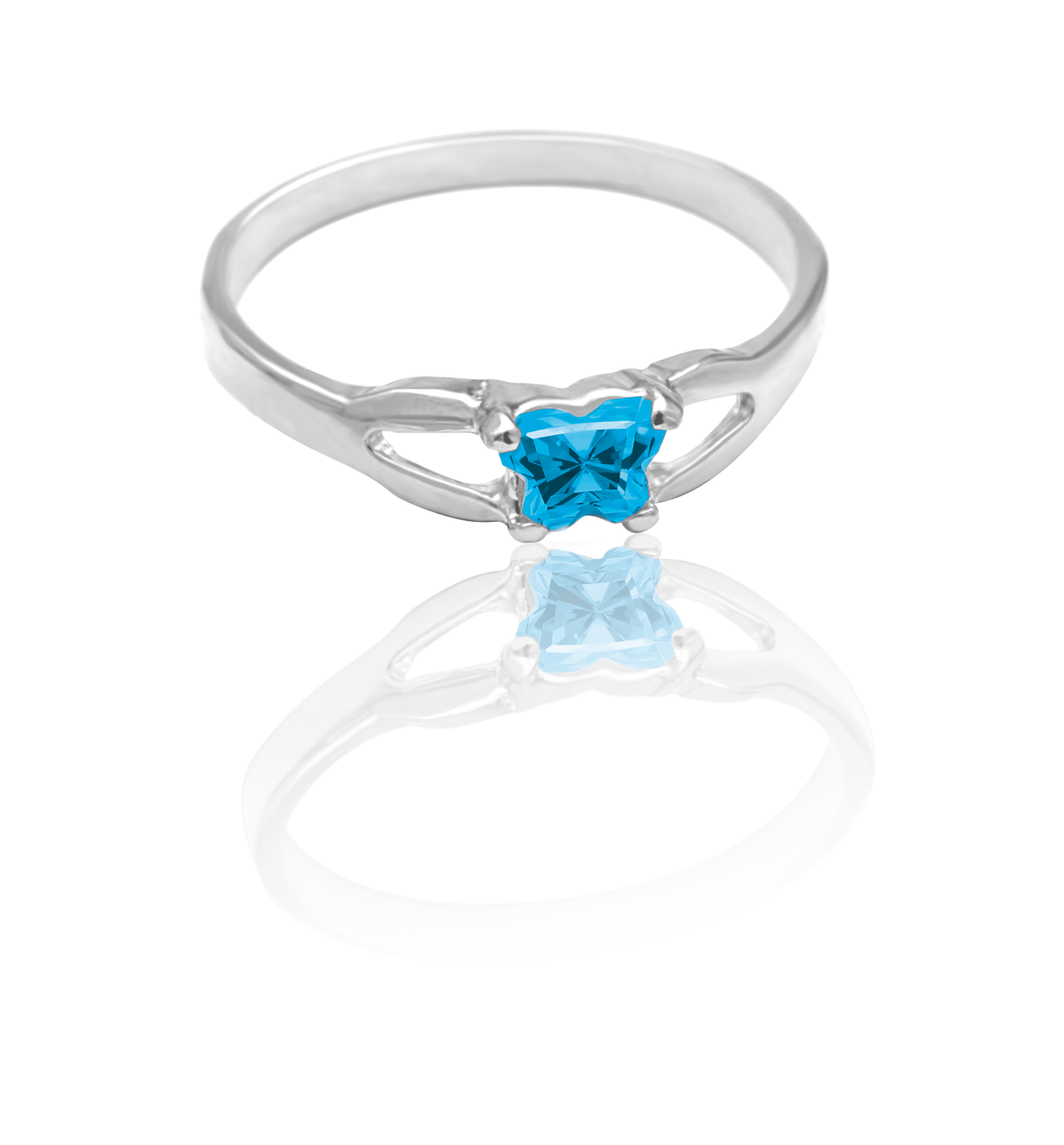 children's ring in sterling silver with blue cubic zirconia (month of December)*