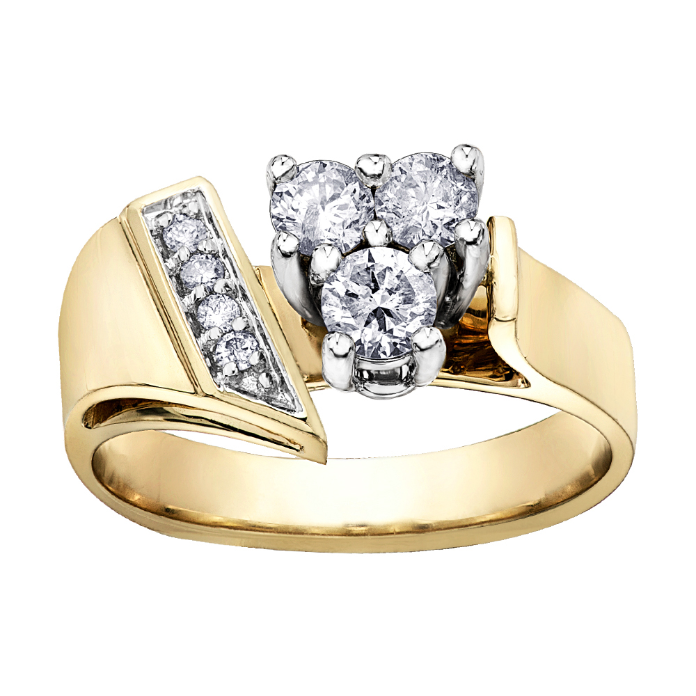 Engagement ring for woman - 14K yellow Gold & Diamonds